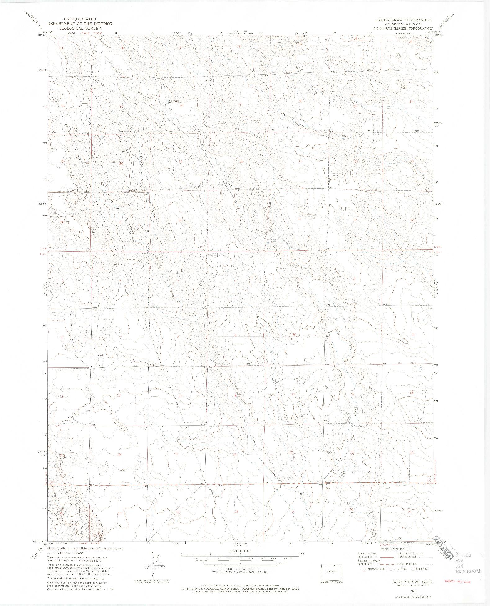 USGS 1:24000-SCALE QUADRANGLE FOR BAKER DRAW, CO 1972