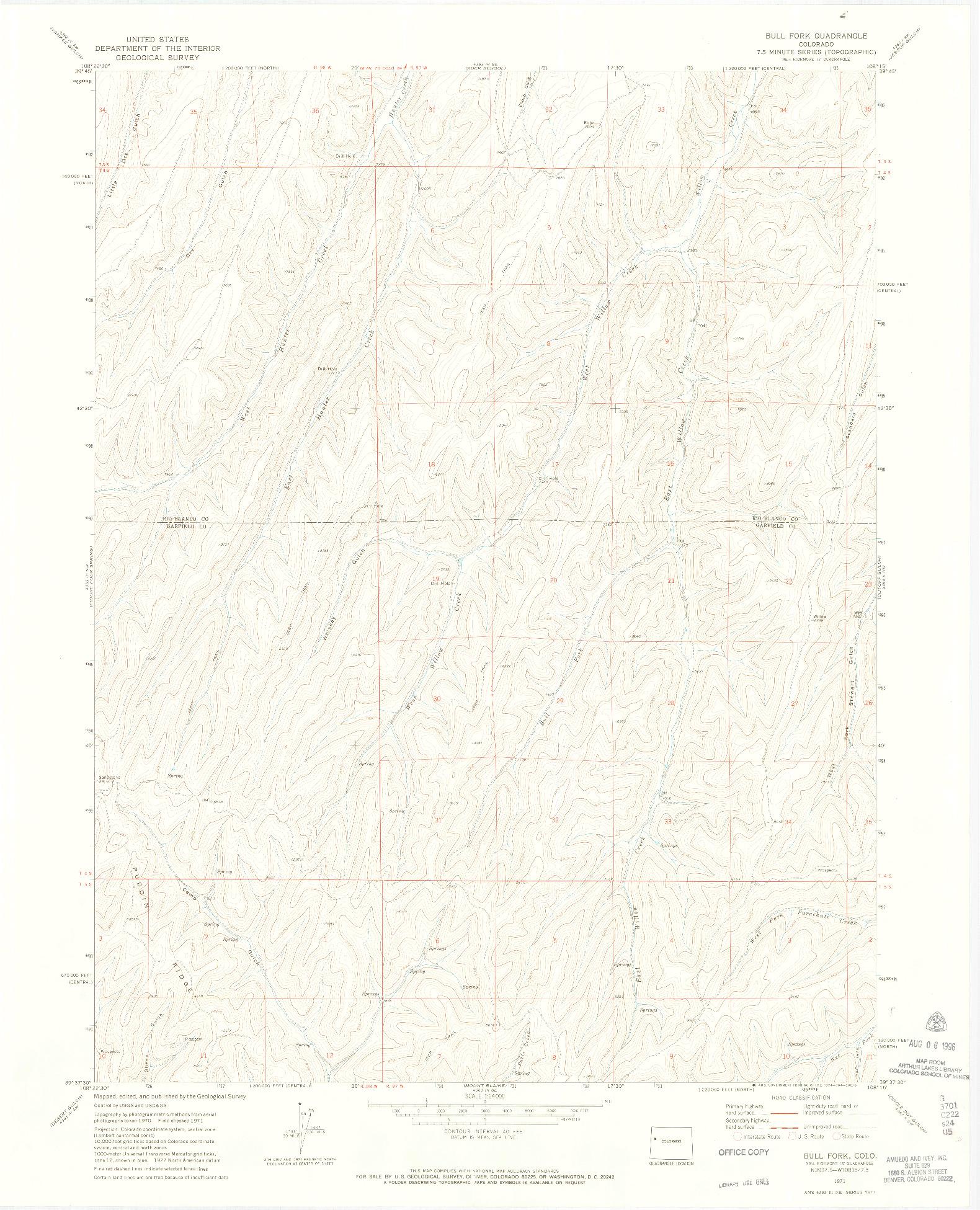 USGS 1:24000-SCALE QUADRANGLE FOR BULL FORK, CO 1971