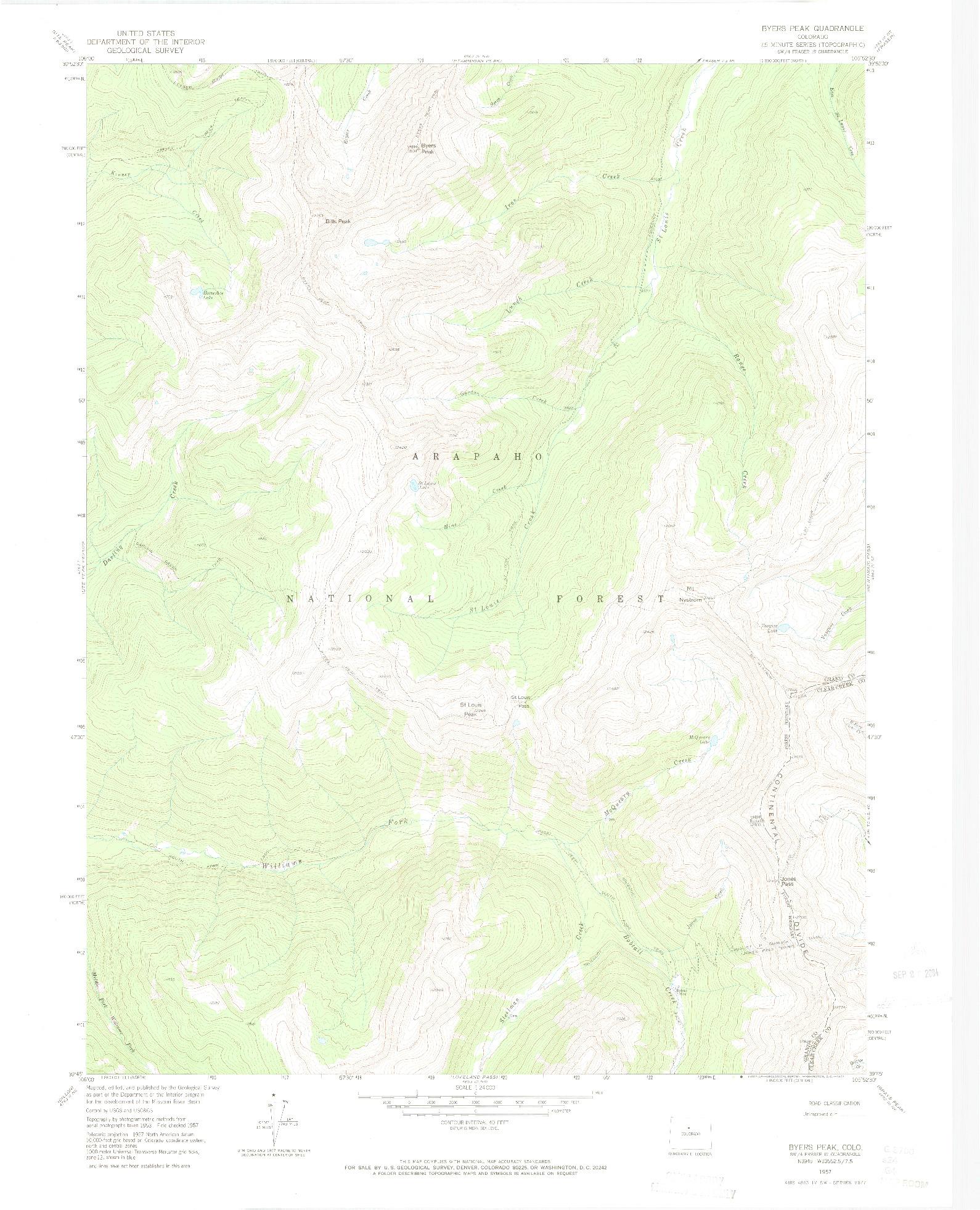 USGS 1:24000-SCALE QUADRANGLE FOR BYERS PEAK, CO 1957