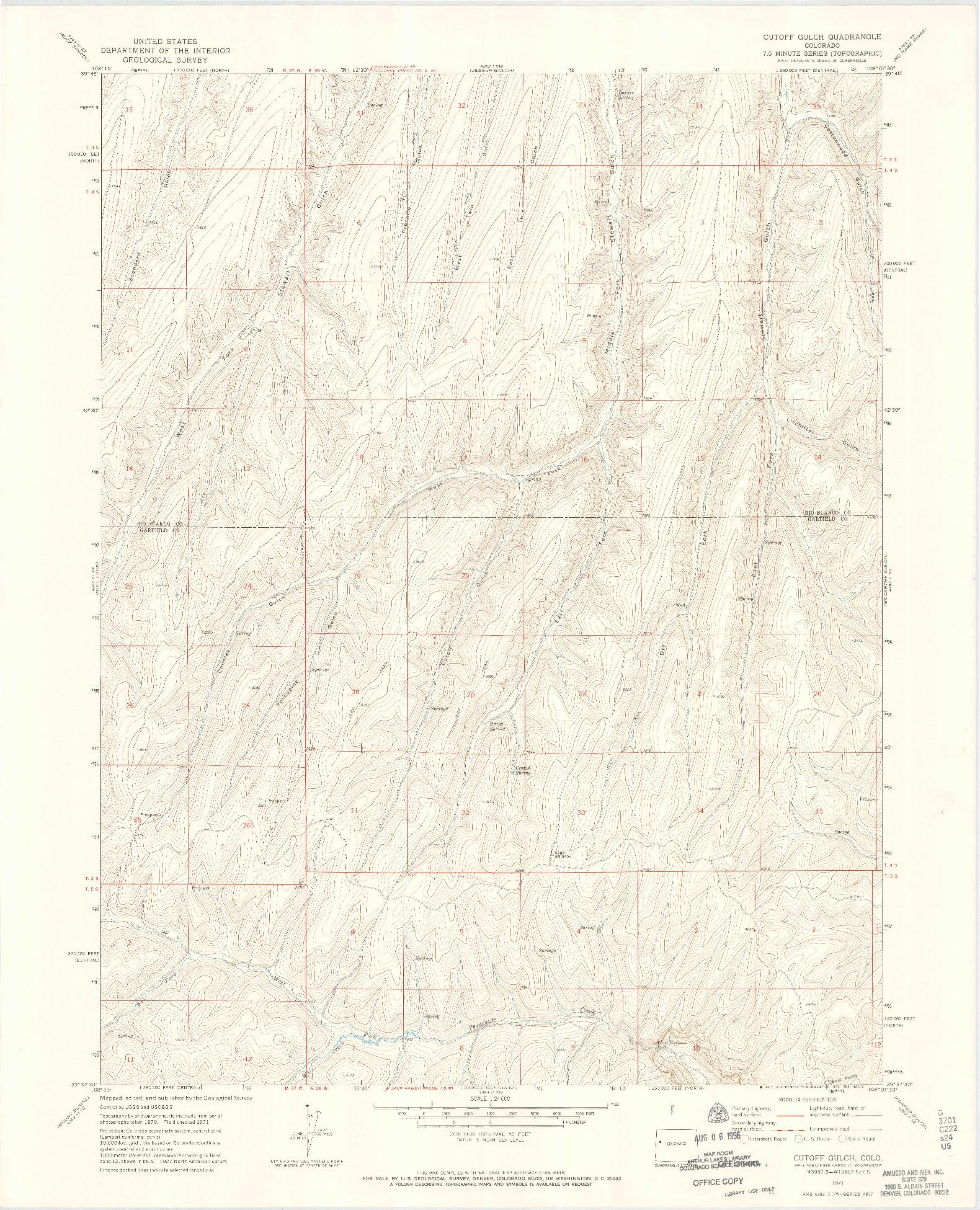 USGS 1:24000-SCALE QUADRANGLE FOR CUTOFF GULCH, CO 1971