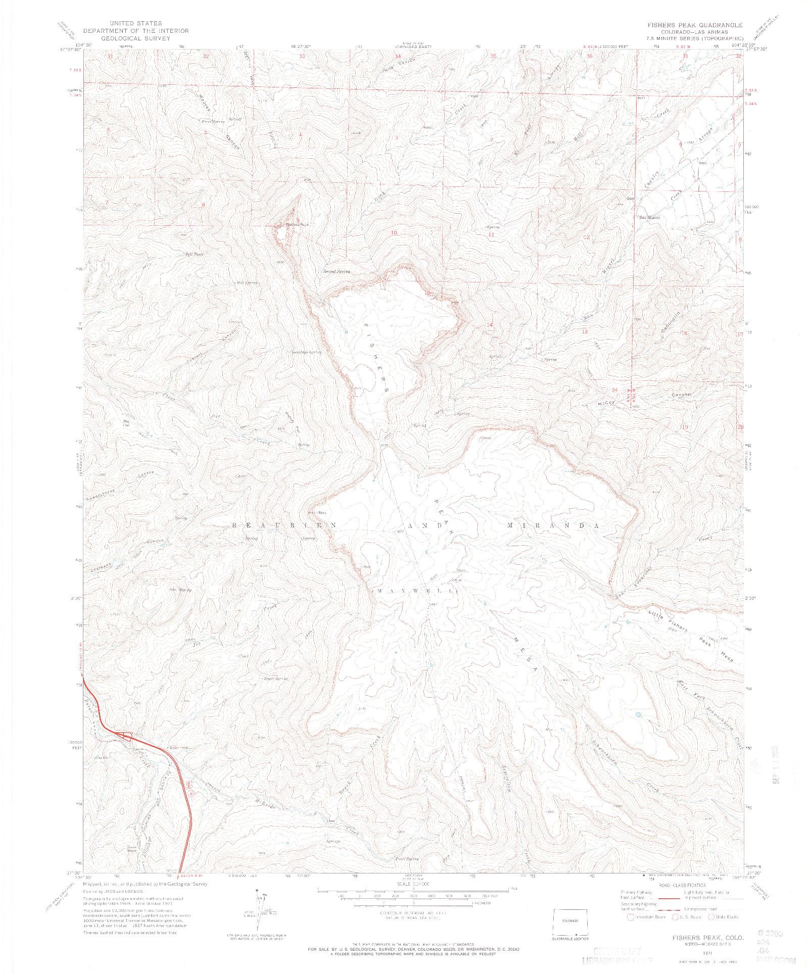 USGS 1:24000-SCALE QUADRANGLE FOR FISHERS PEAK, CO 1971