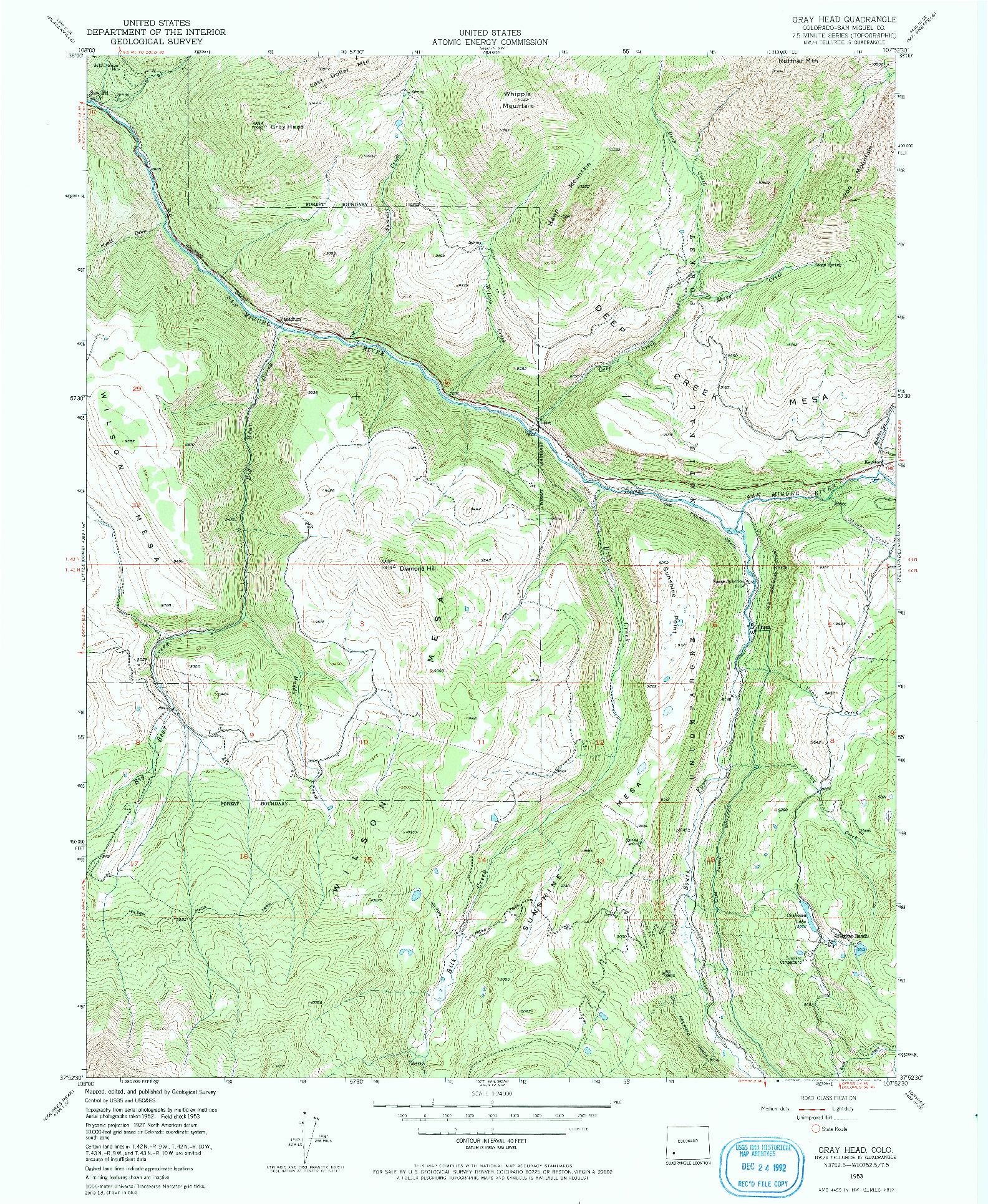 USGS 1:24000-SCALE QUADRANGLE FOR GRAY HEAD, CO 1953