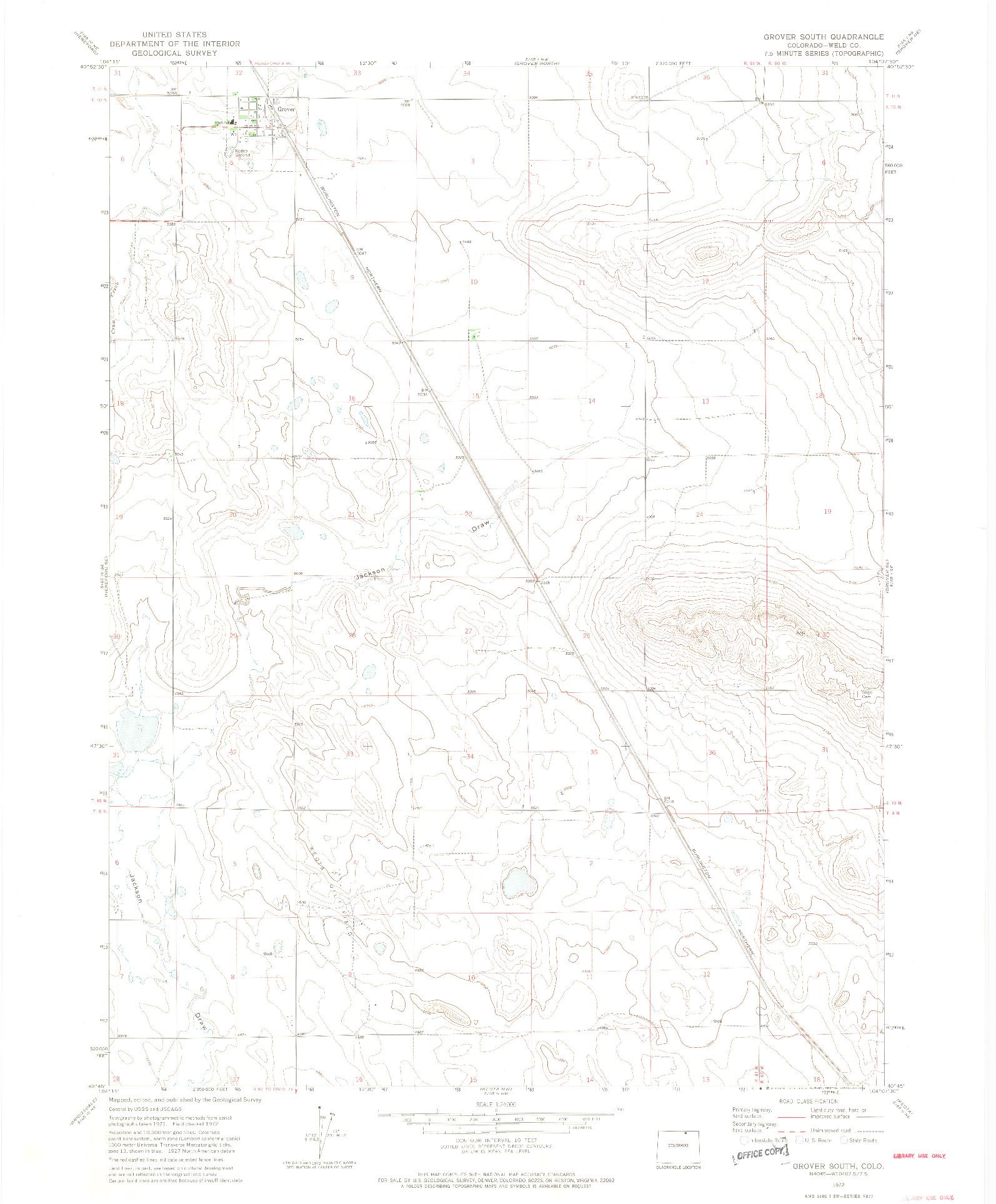 USGS 1:24000-SCALE QUADRANGLE FOR GROVER SOUTH, CO 1972