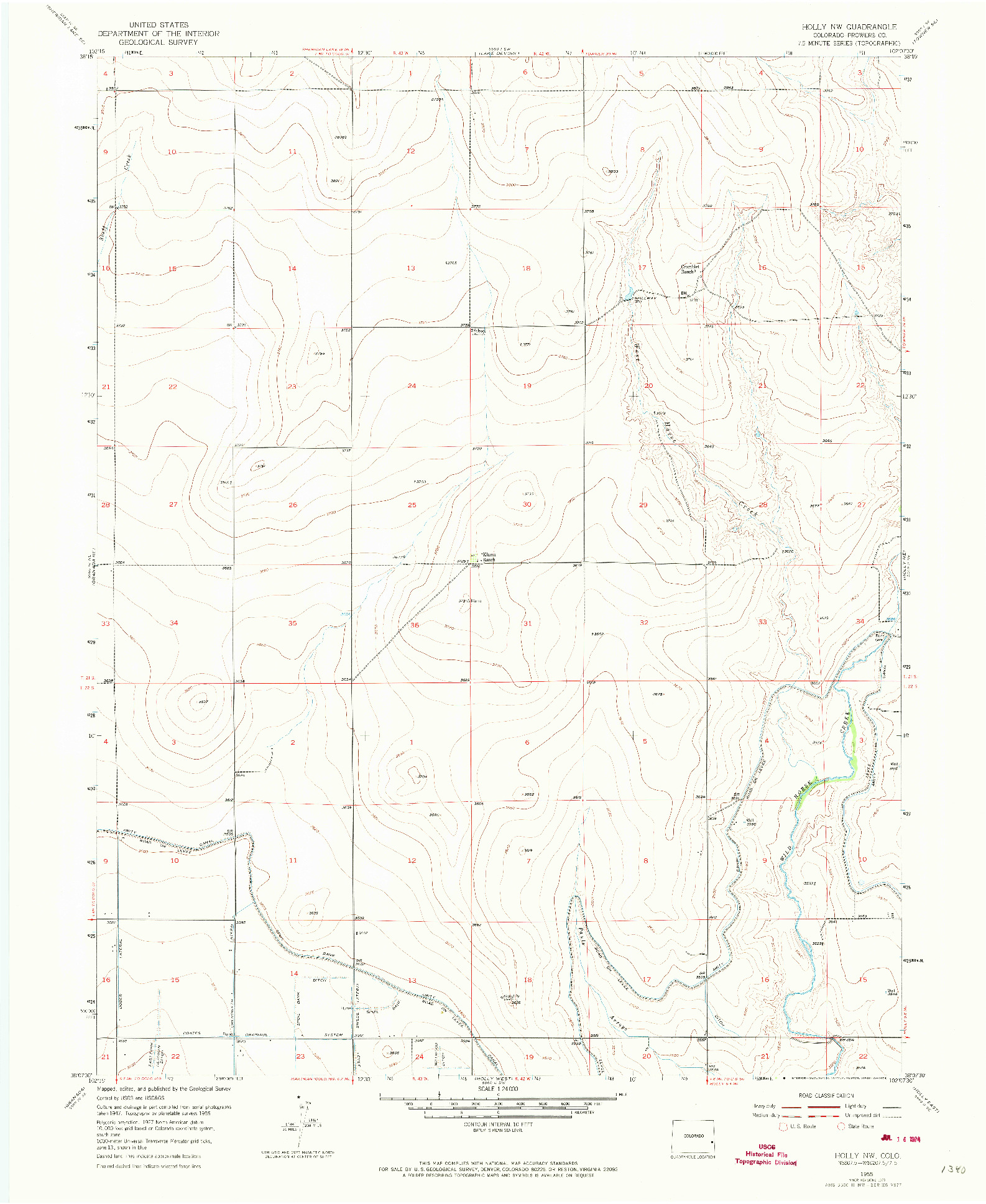 USGS 1:24000-SCALE QUADRANGLE FOR HOLLY NW, CO 1955