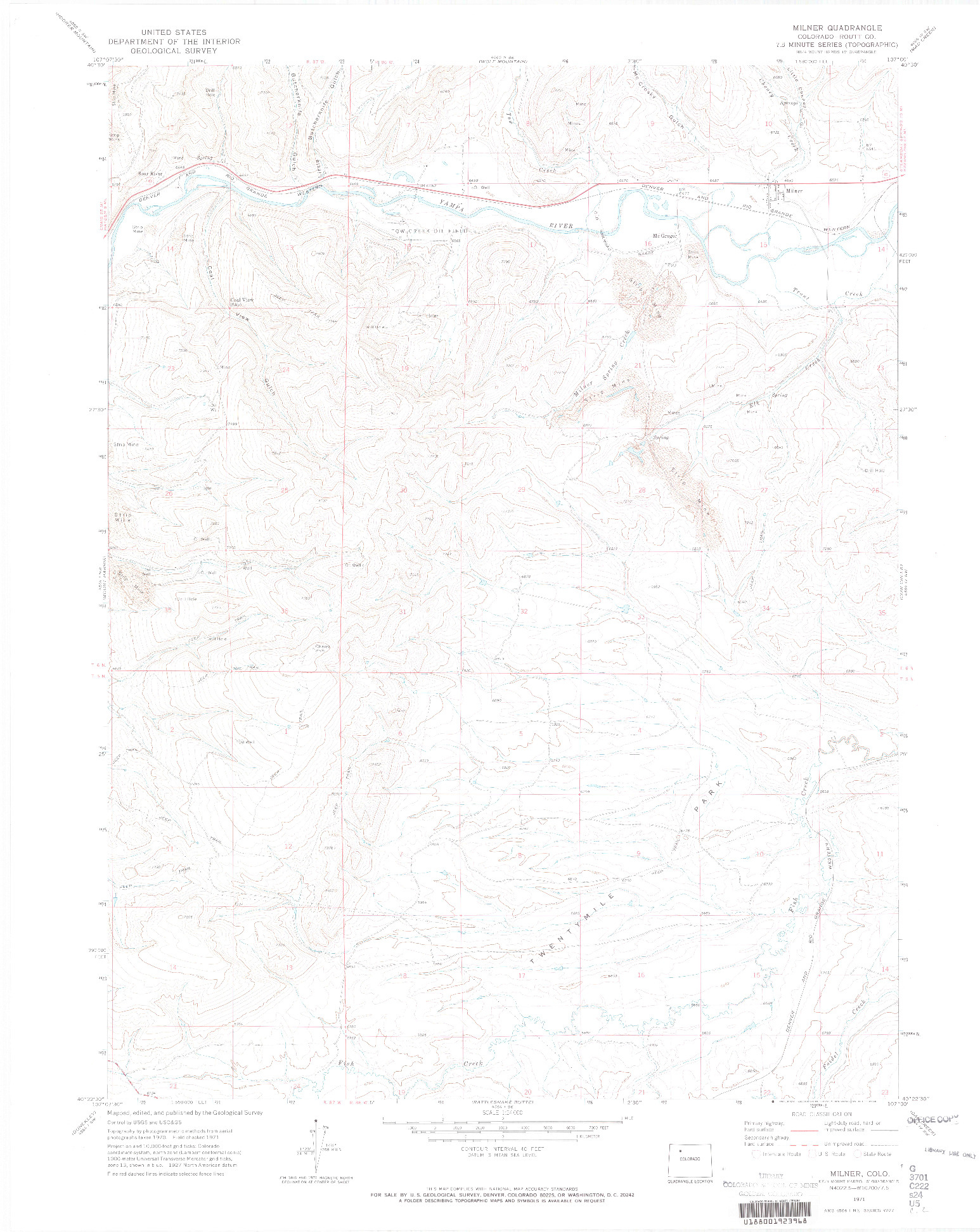 USGS 1:24000-SCALE QUADRANGLE FOR MILNER, CO 1971