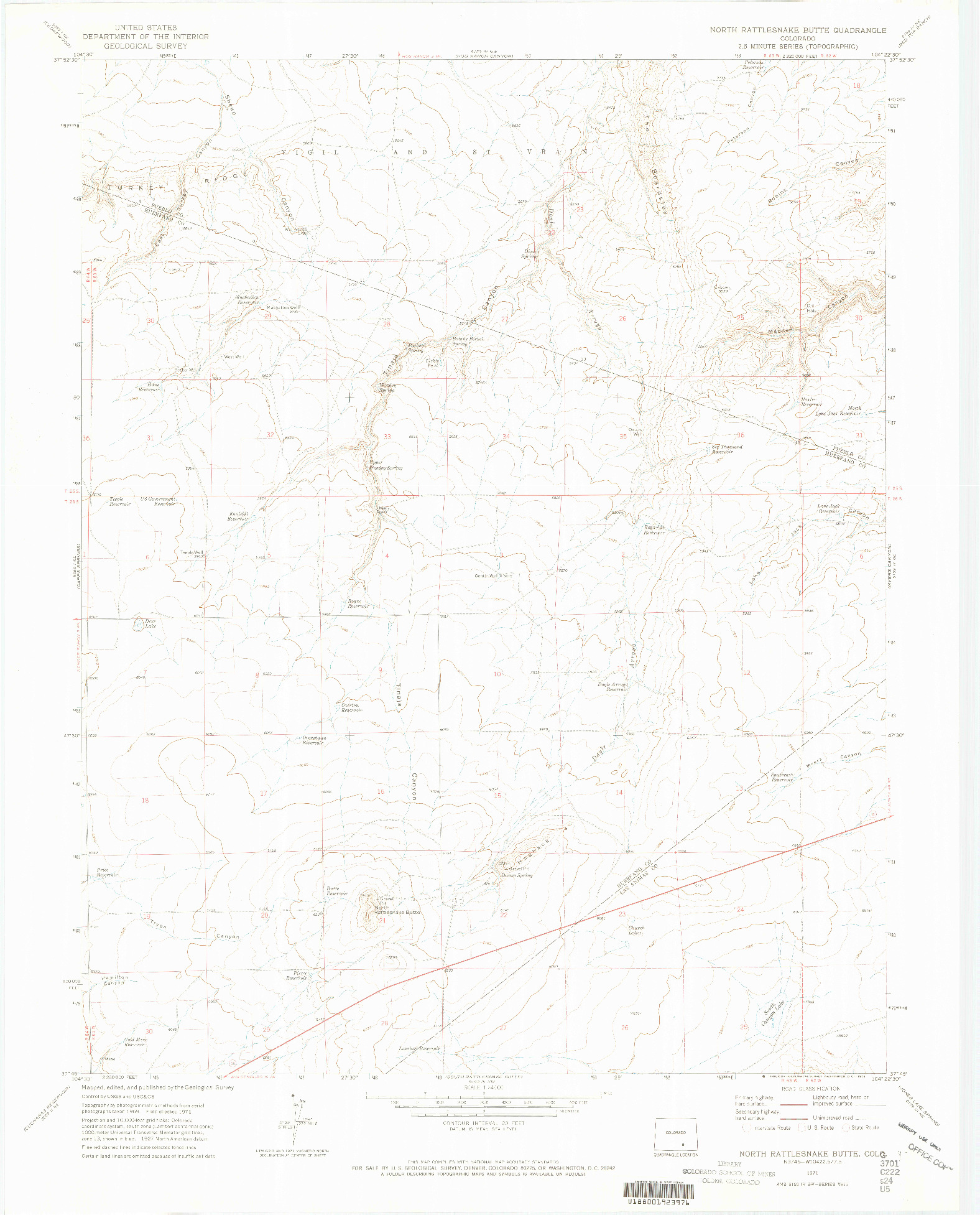 USGS 1:24000-SCALE QUADRANGLE FOR NORTH RATTLESNAKE BUTTE, CO 1971