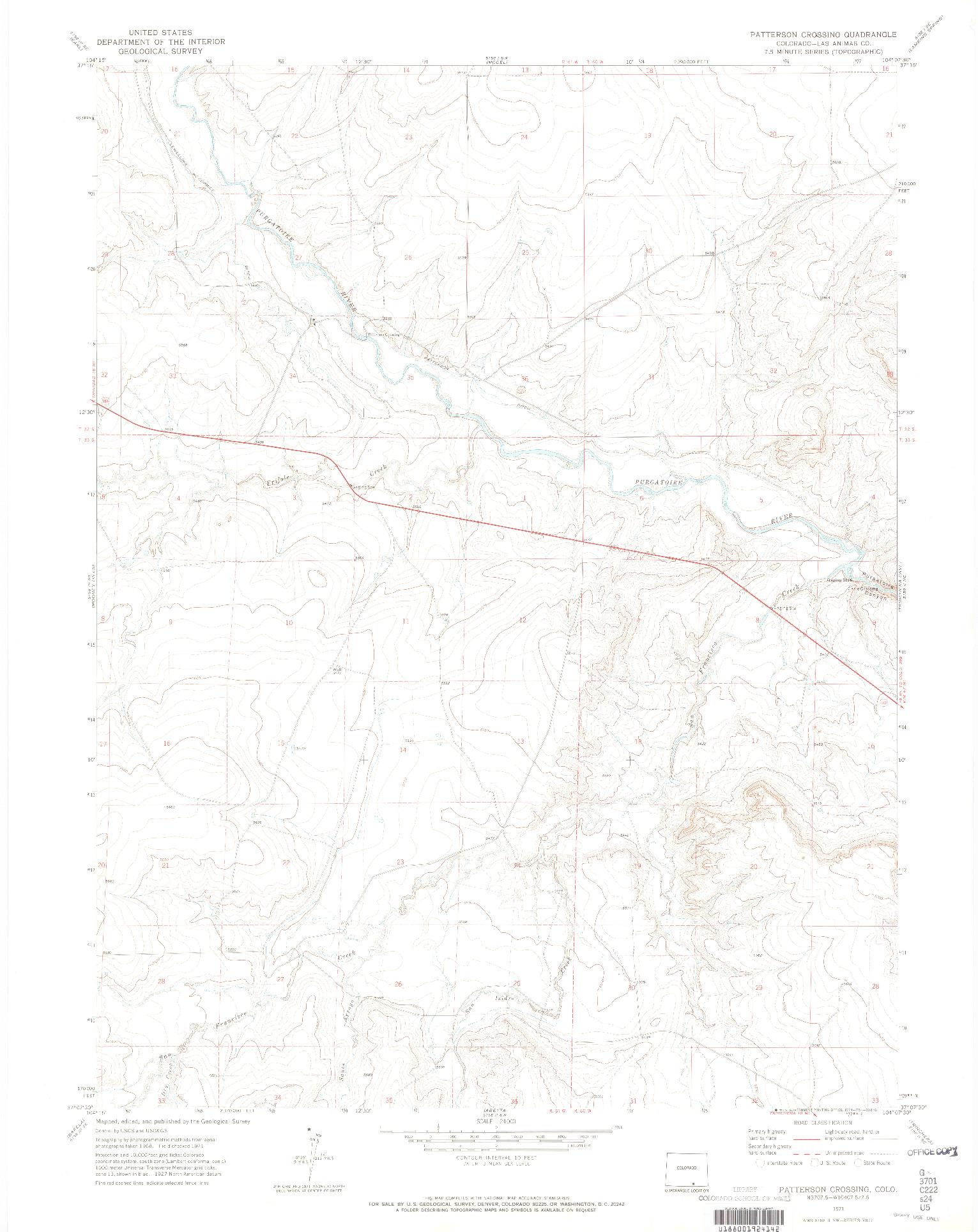 USGS 1:24000-SCALE QUADRANGLE FOR PARSHALL, CO 1971