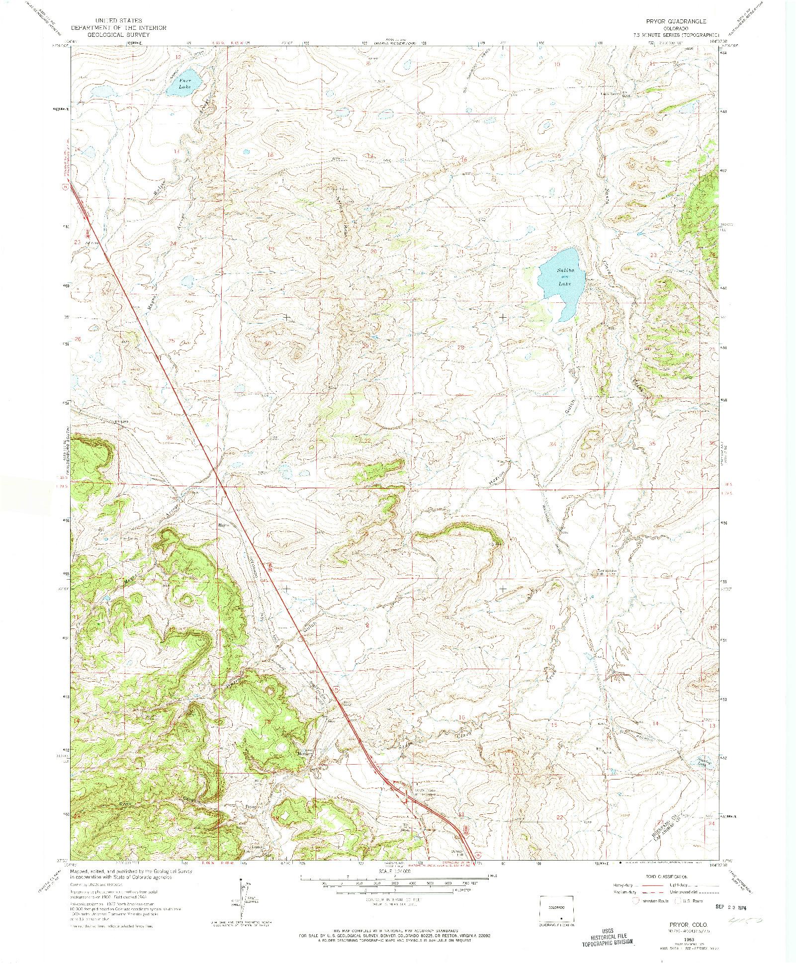 USGS 1:24000-SCALE QUADRANGLE FOR PRYOR, CO 1963