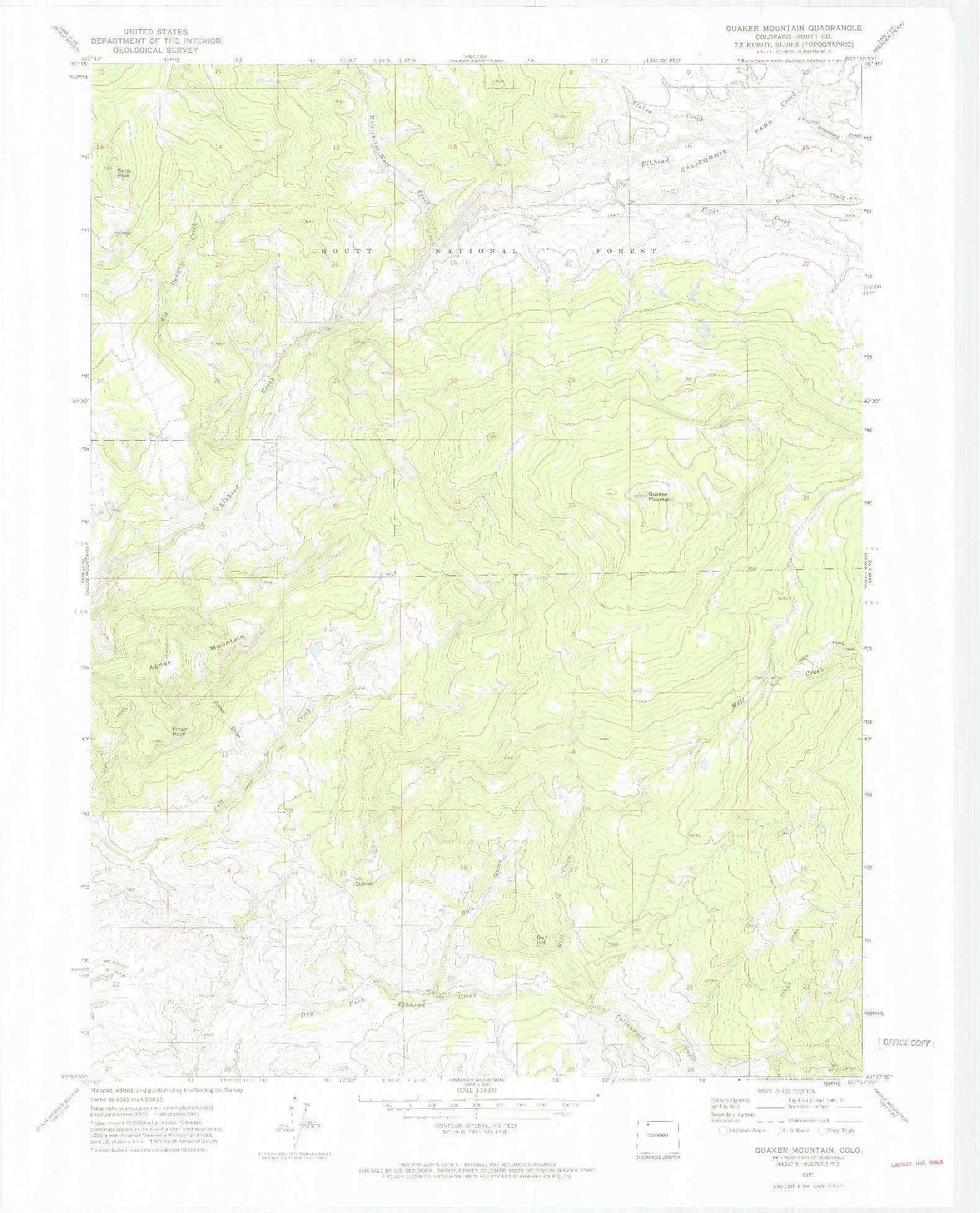 USGS 1:24000-SCALE QUADRANGLE FOR QUAKER MOUNTAIN, CO 1971