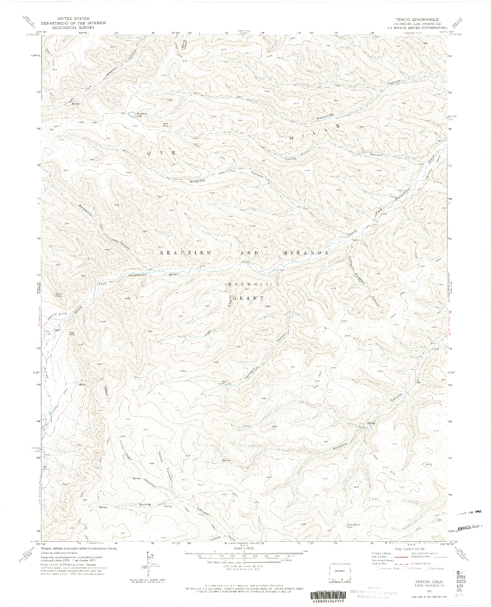 USGS 1:24000-SCALE QUADRANGLE FOR TERCIO, CO 1971