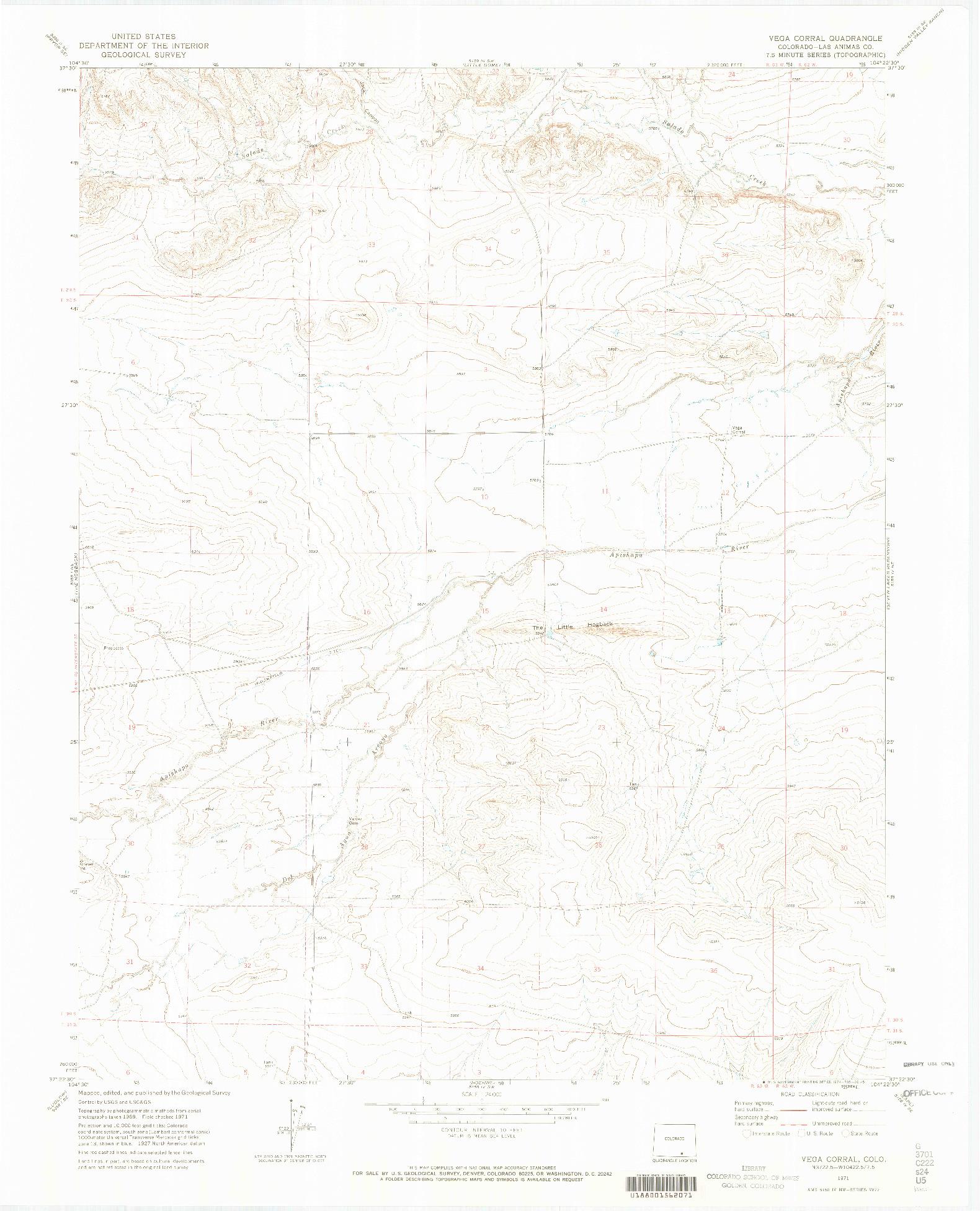 USGS 1:24000-SCALE QUADRANGLE FOR VEGA CORRAL, CO 1971