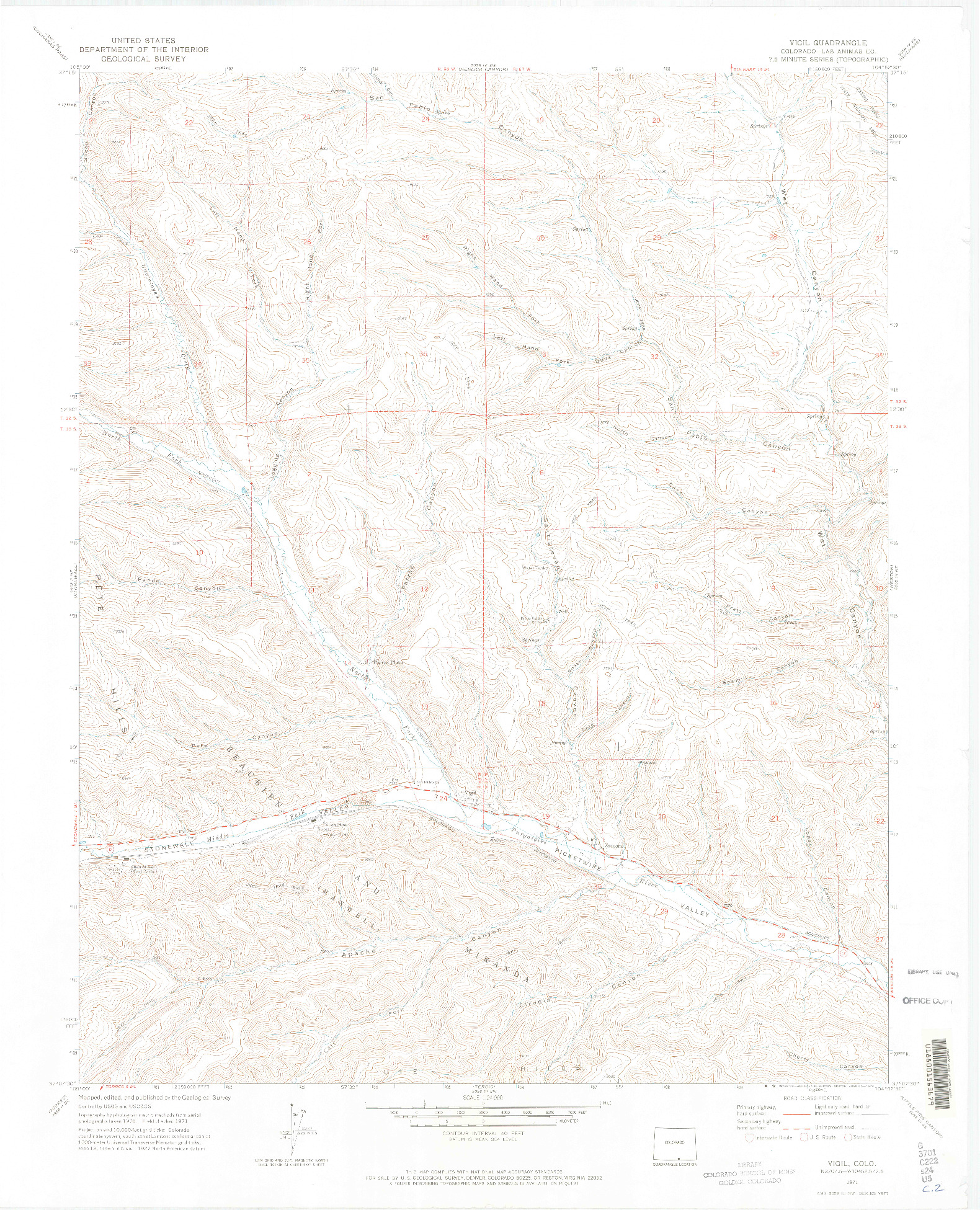 USGS 1:24000-SCALE QUADRANGLE FOR VIGIL, CO 1971