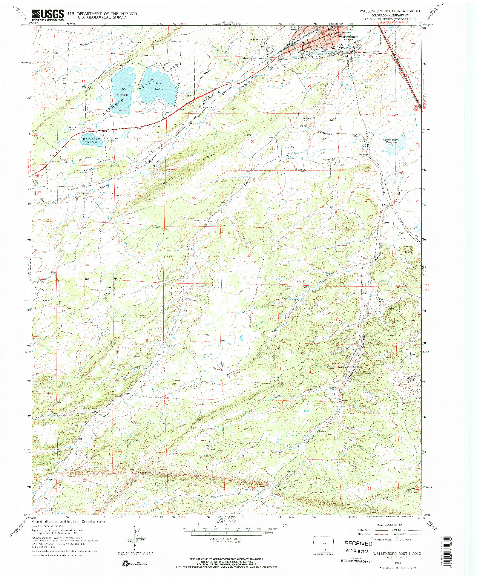 USGS 1:24000-SCALE QUADRANGLE FOR WALSENBURG SOUTH, CO 1963