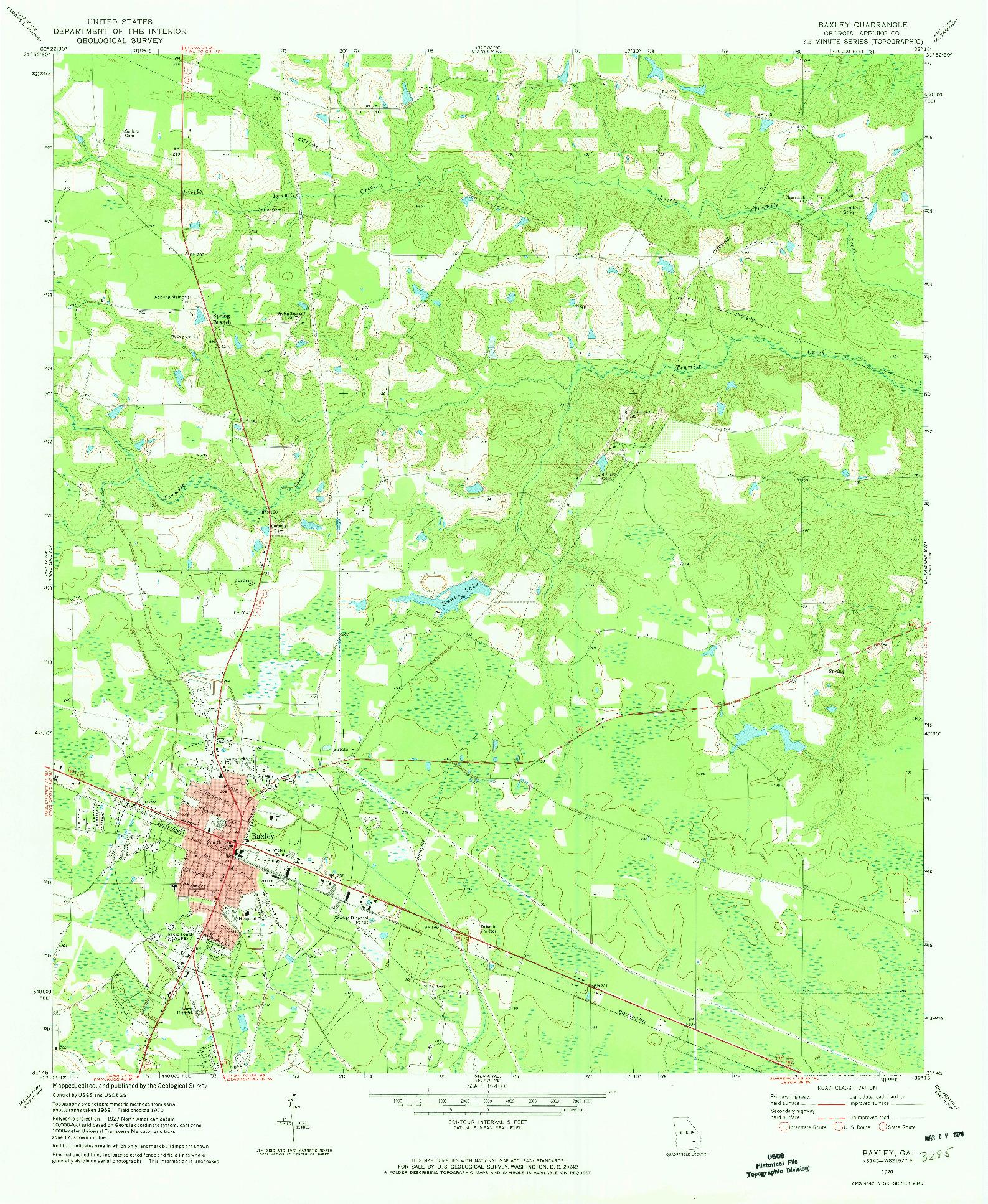 USGS 1:24000-SCALE QUADRANGLE FOR BAXLEY, GA 1970