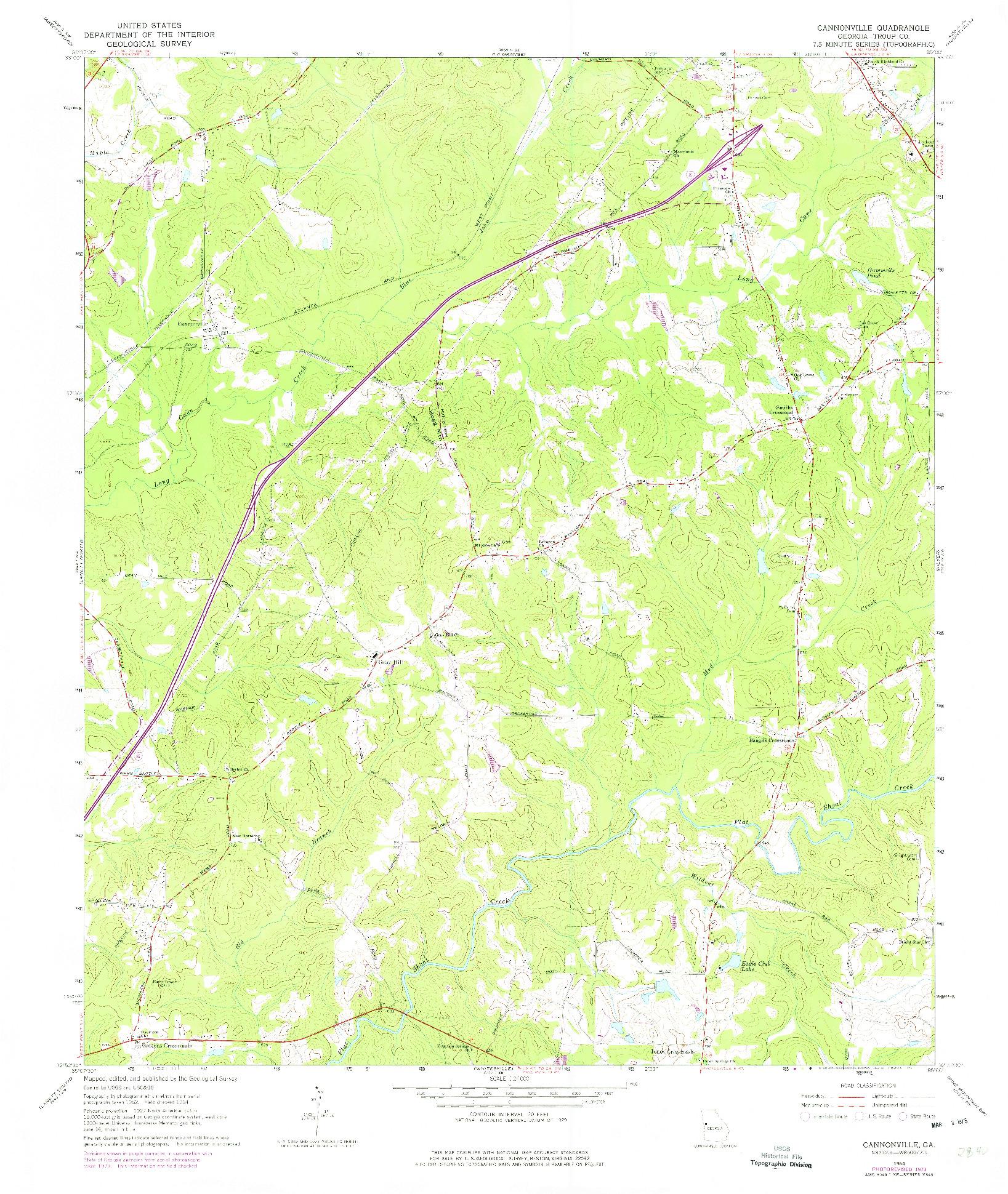 USGS 1:24000-SCALE QUADRANGLE FOR CANNONVILLE, GA 1964