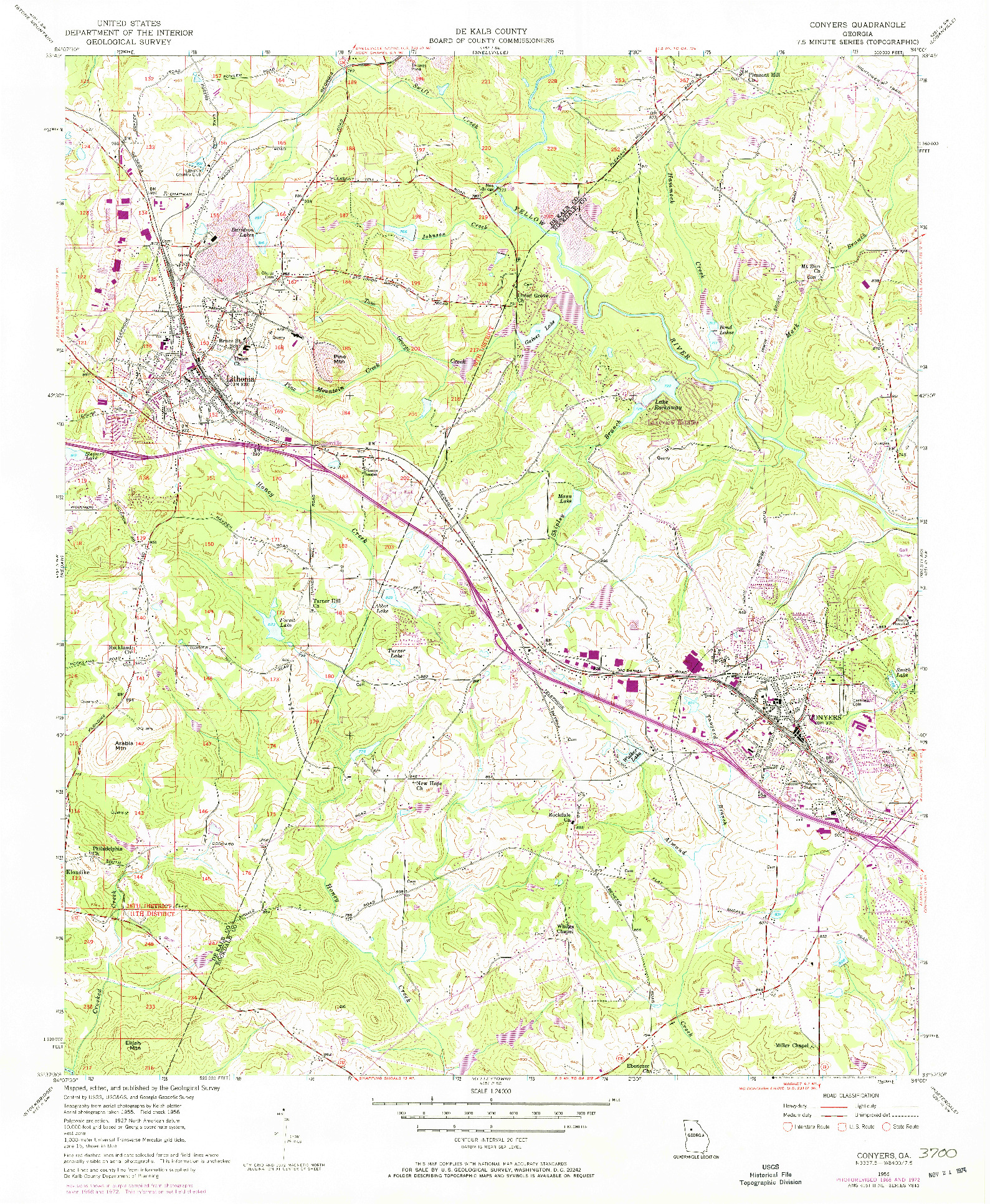 USGS 1:24000-SCALE QUADRANGLE FOR CONYERS, GA 1956