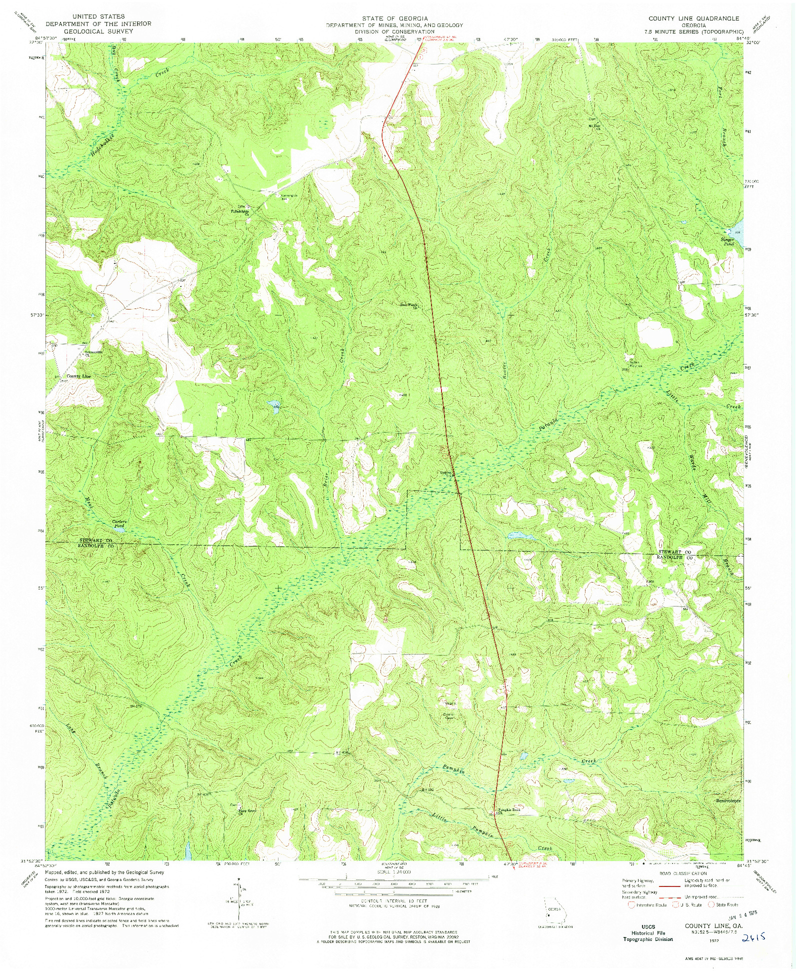 USGS 1:24000-SCALE QUADRANGLE FOR COUNTY LINE, GA 1972