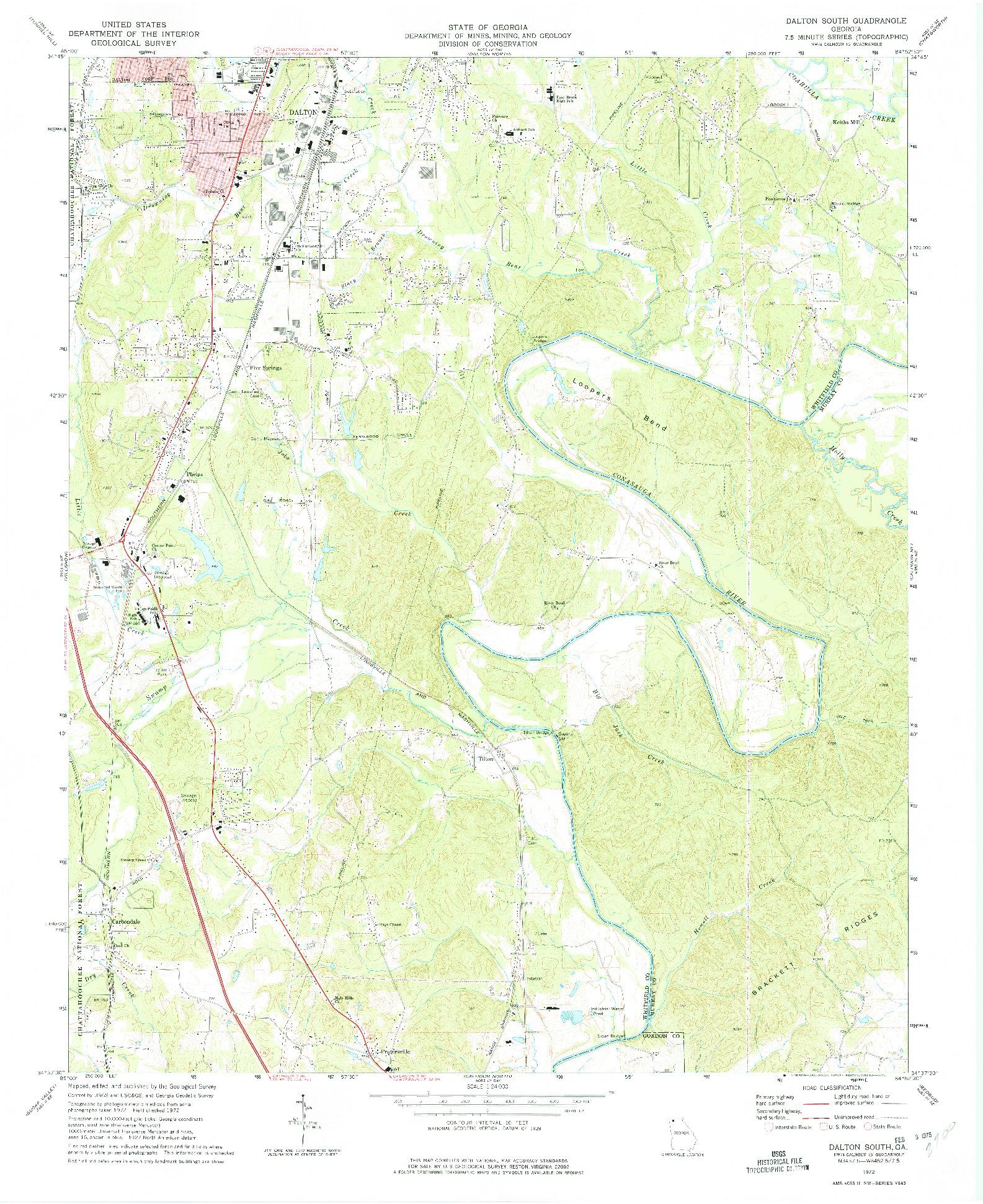 USGS 1:24000-SCALE QUADRANGLE FOR DALTON SOUTH, GA 1972