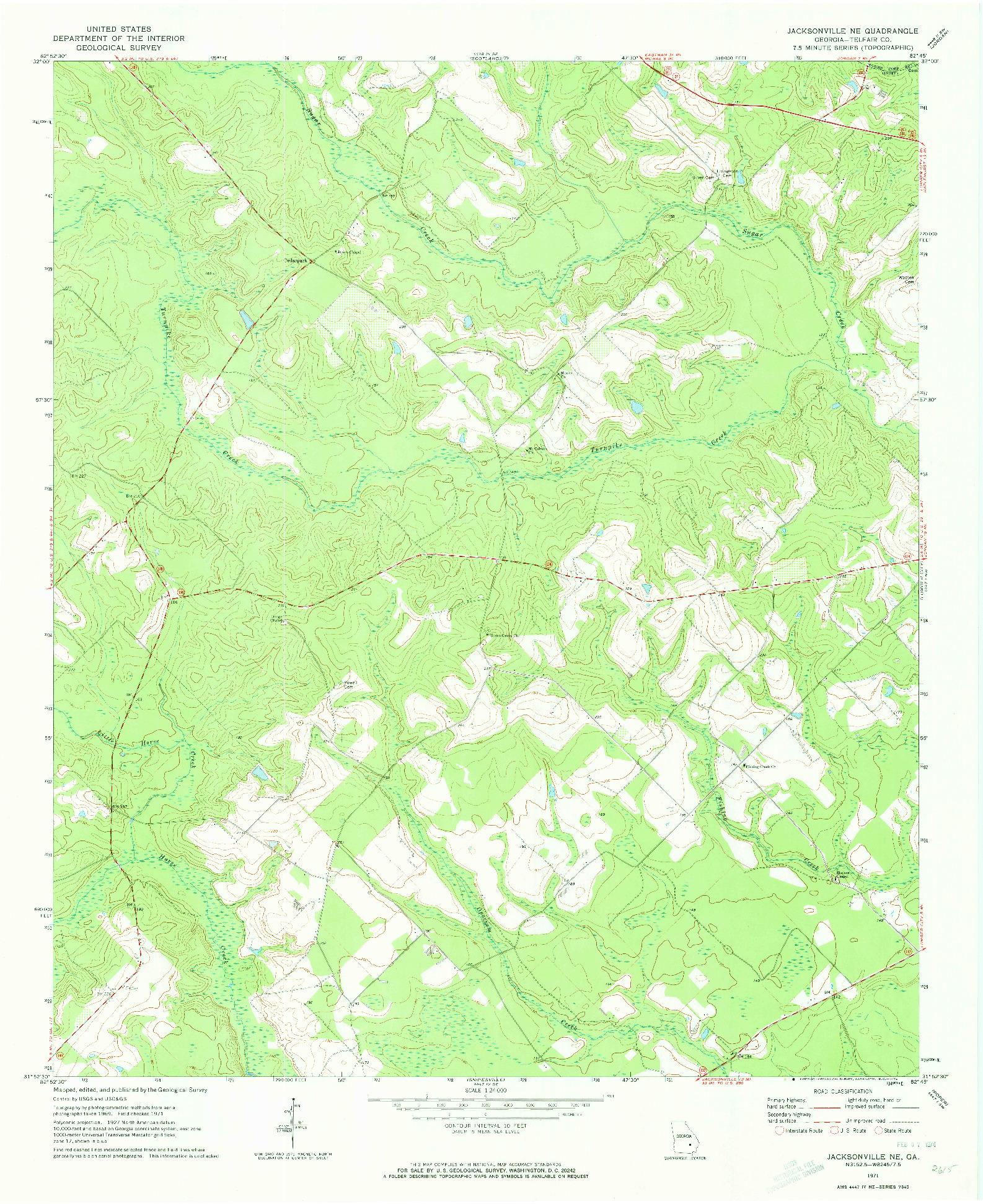 USGS 1:24000-SCALE QUADRANGLE FOR JACKSONVILLE NE, GA 1971