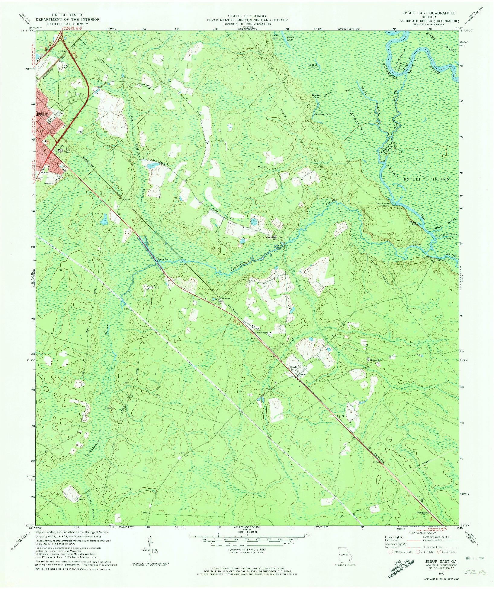 USGS 1:24000-SCALE QUADRANGLE FOR JESUP EAST, GA 1970