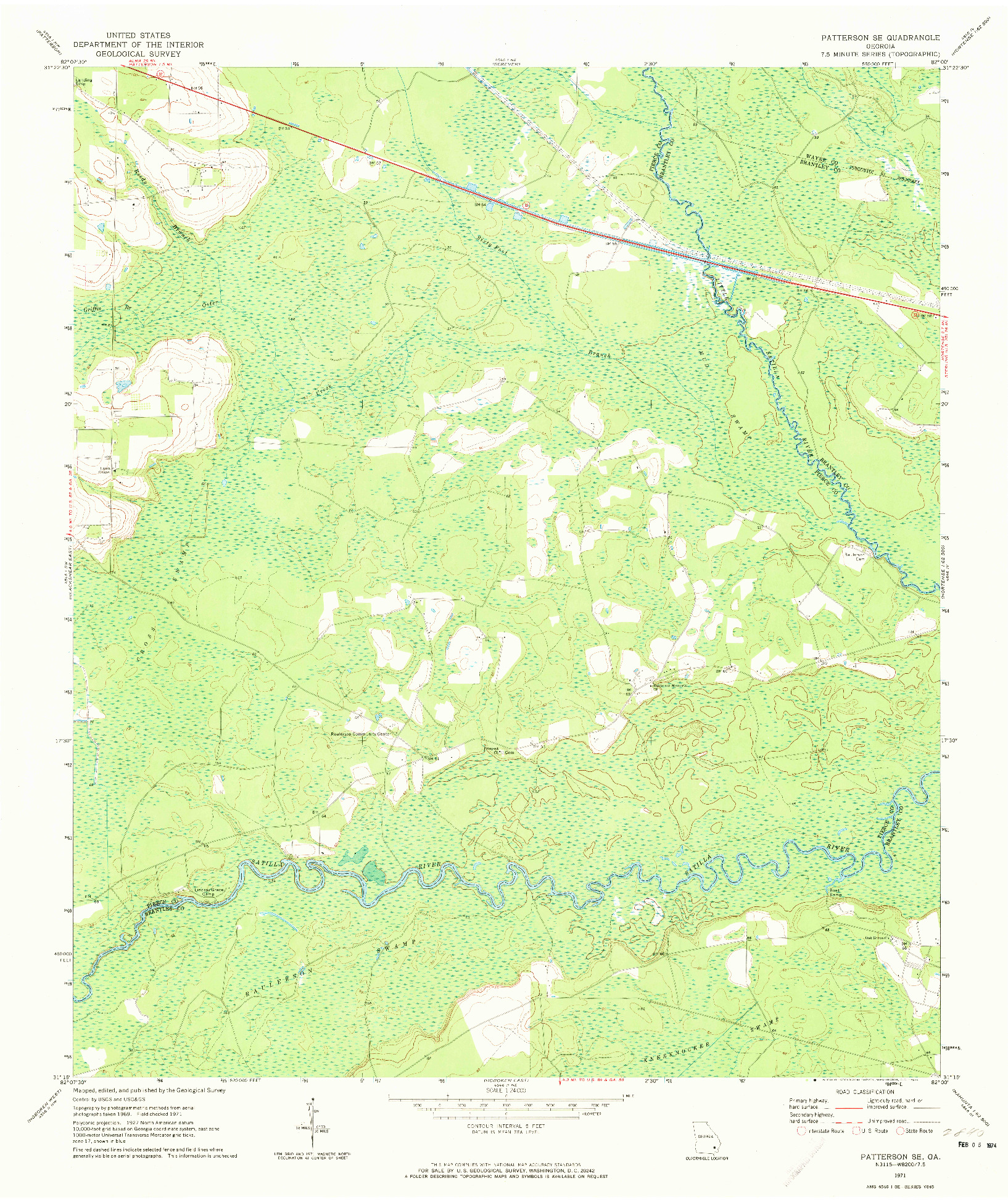 USGS 1:24000-SCALE QUADRANGLE FOR PATTERSON SE, GA 1971