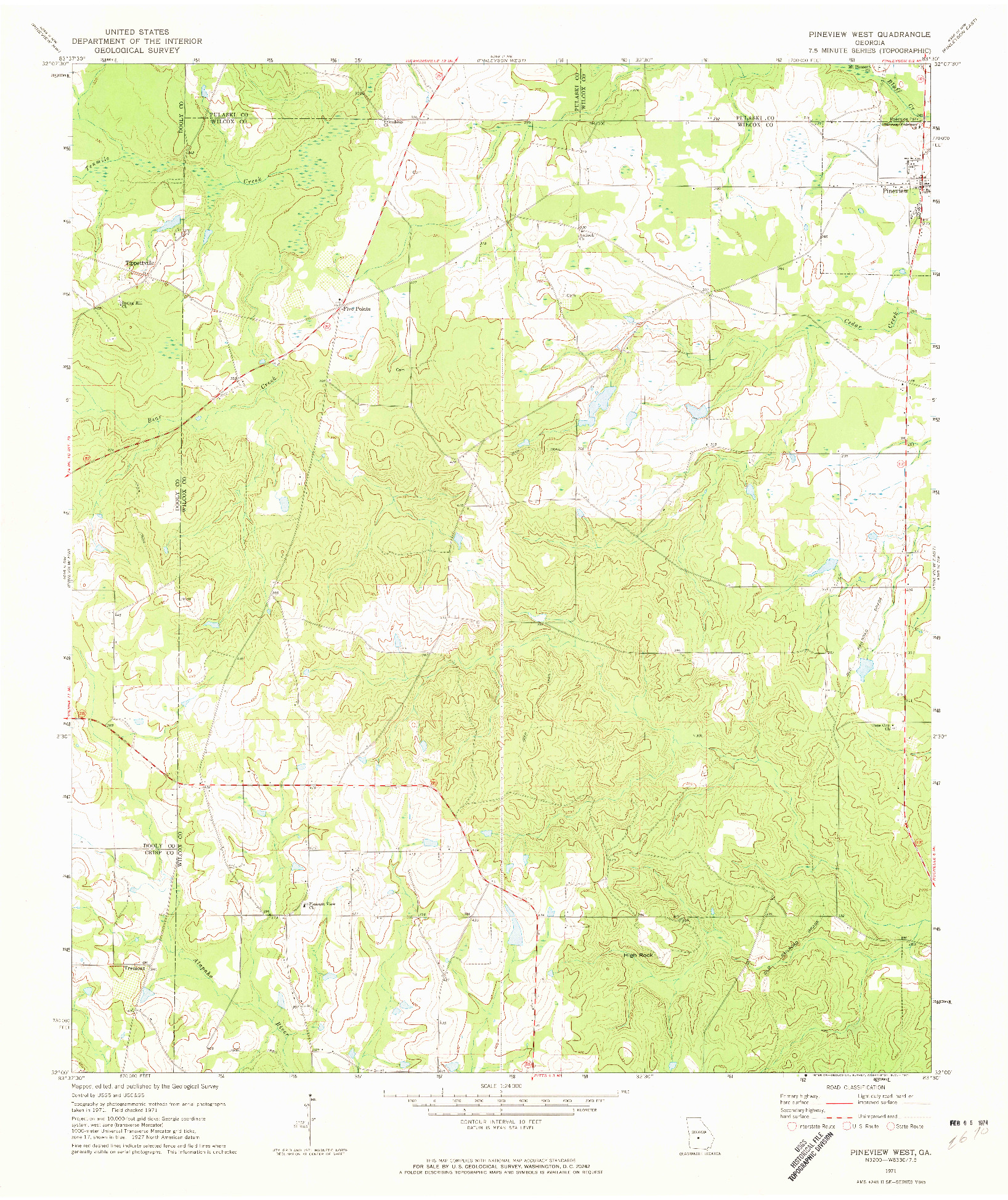 USGS 1:24000-SCALE QUADRANGLE FOR PINEVIEW WEST, GA 1971