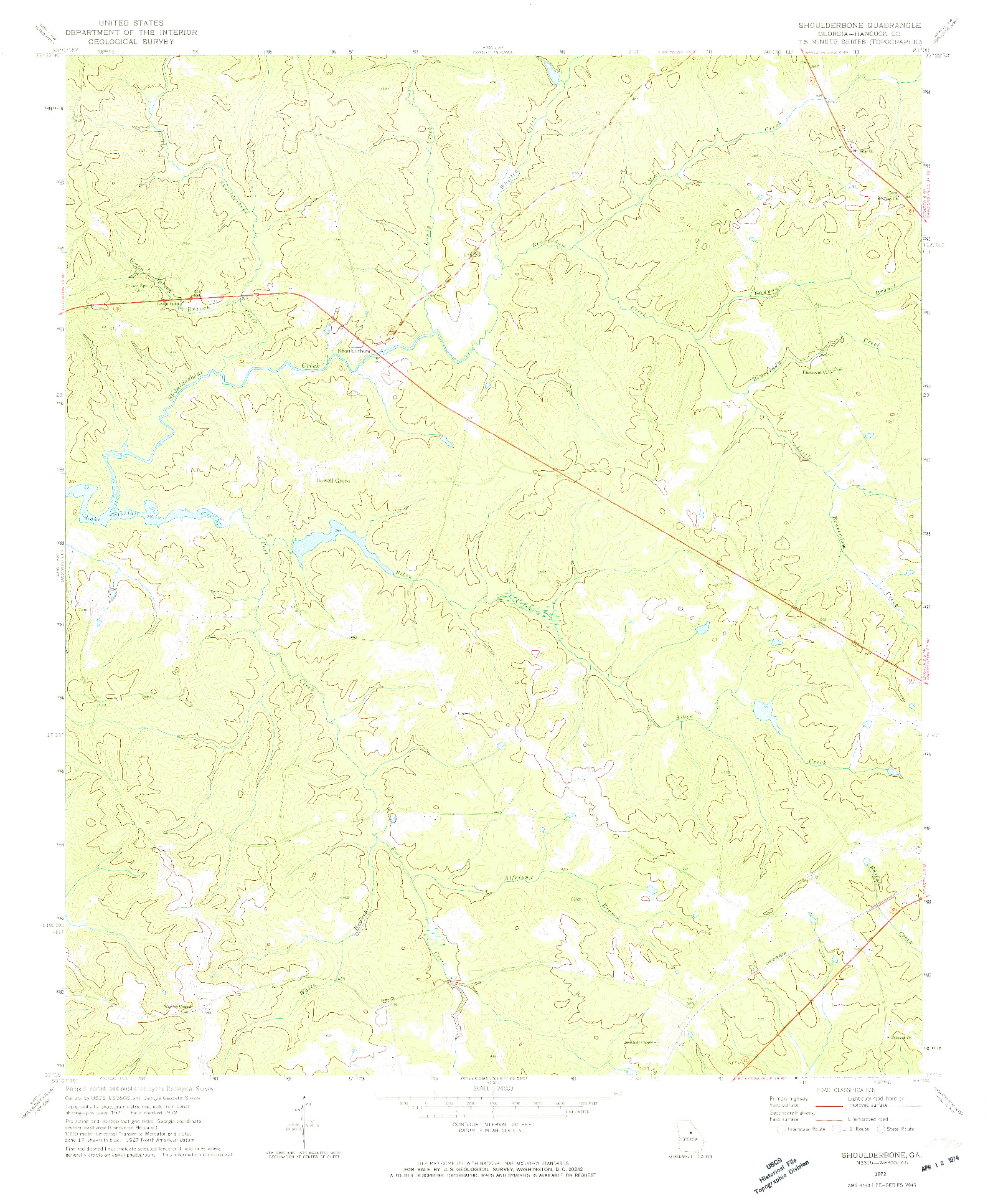 USGS 1:24000-SCALE QUADRANGLE FOR SHOULDERBONE, GA 1972