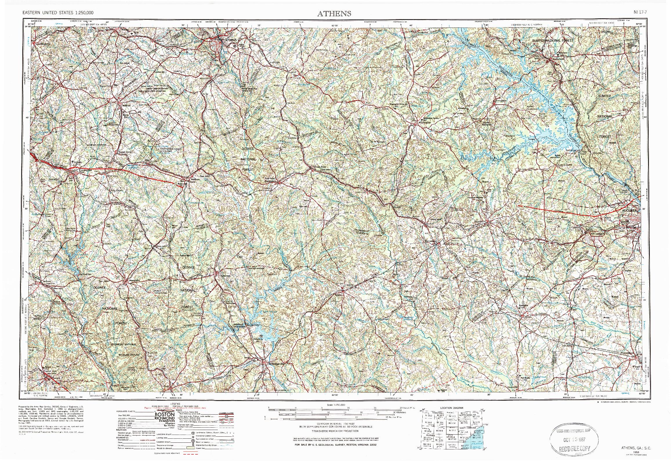 USGS 1:250000-SCALE QUADRANGLE FOR ATHENS, GA 1953