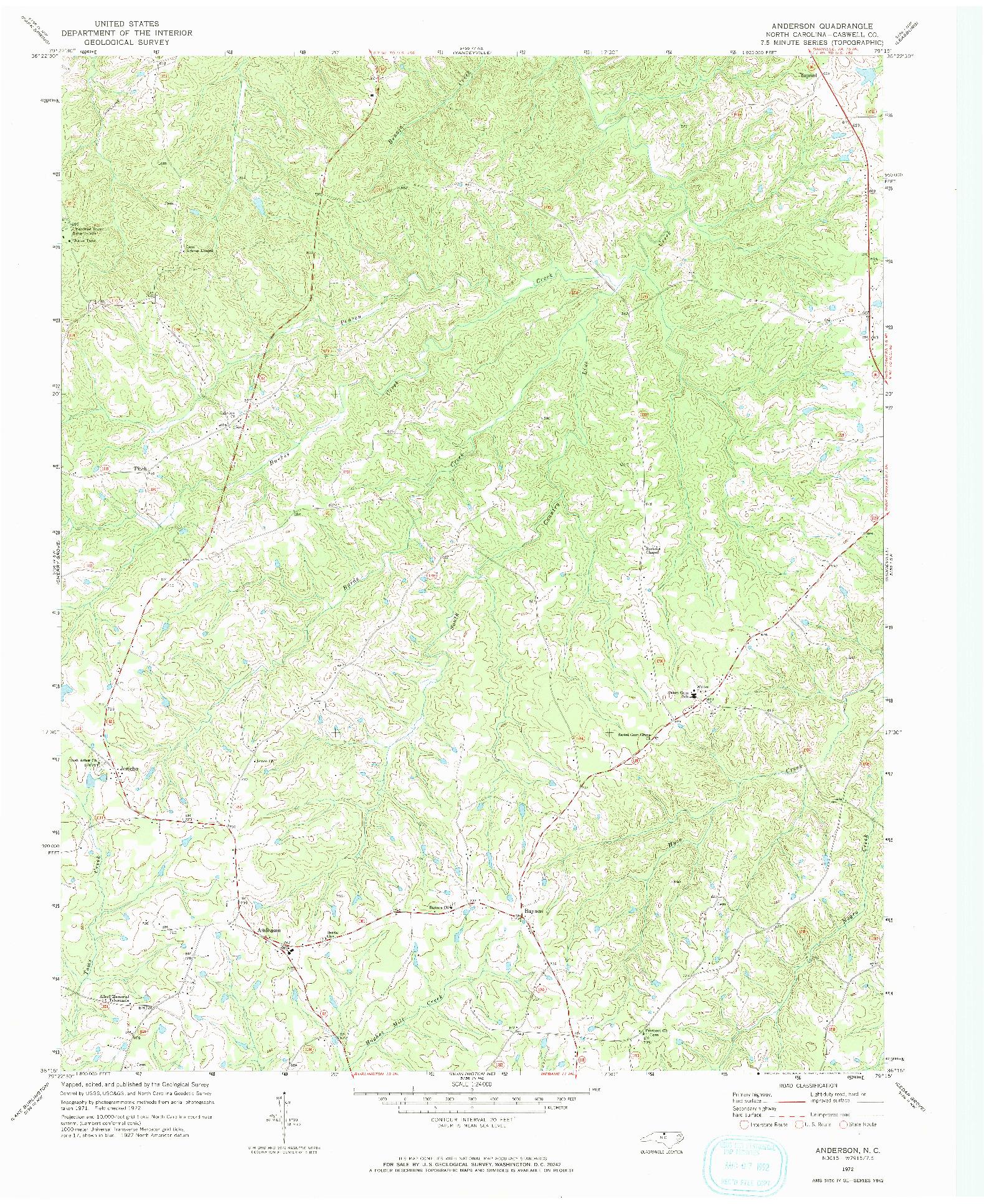 USGS 1:24000-SCALE QUADRANGLE FOR ANDERSON, NC 1972