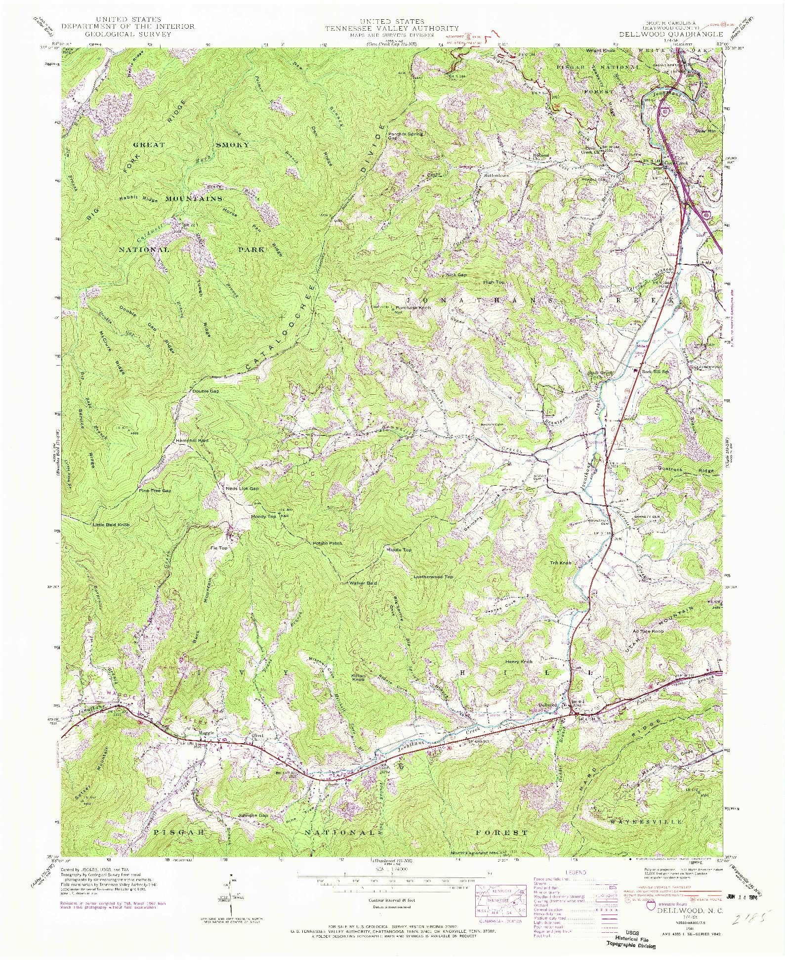USGS 1:24000-SCALE QUADRANGLE FOR DELLWOOD, NC 1941