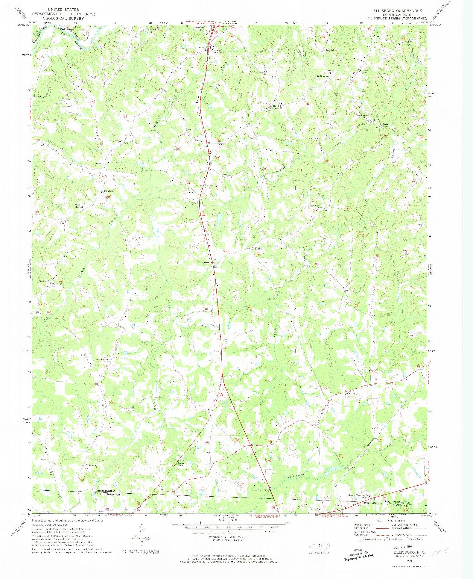 USGS 1:24000-SCALE QUADRANGLE FOR ELLISBORO, NC 1971