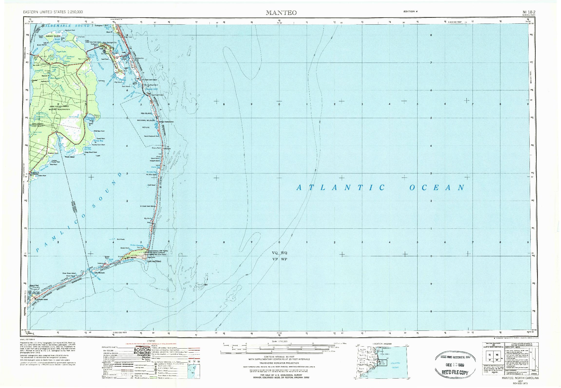 USGS 1:250000-SCALE QUADRANGLE FOR MANTEO, NC 1957