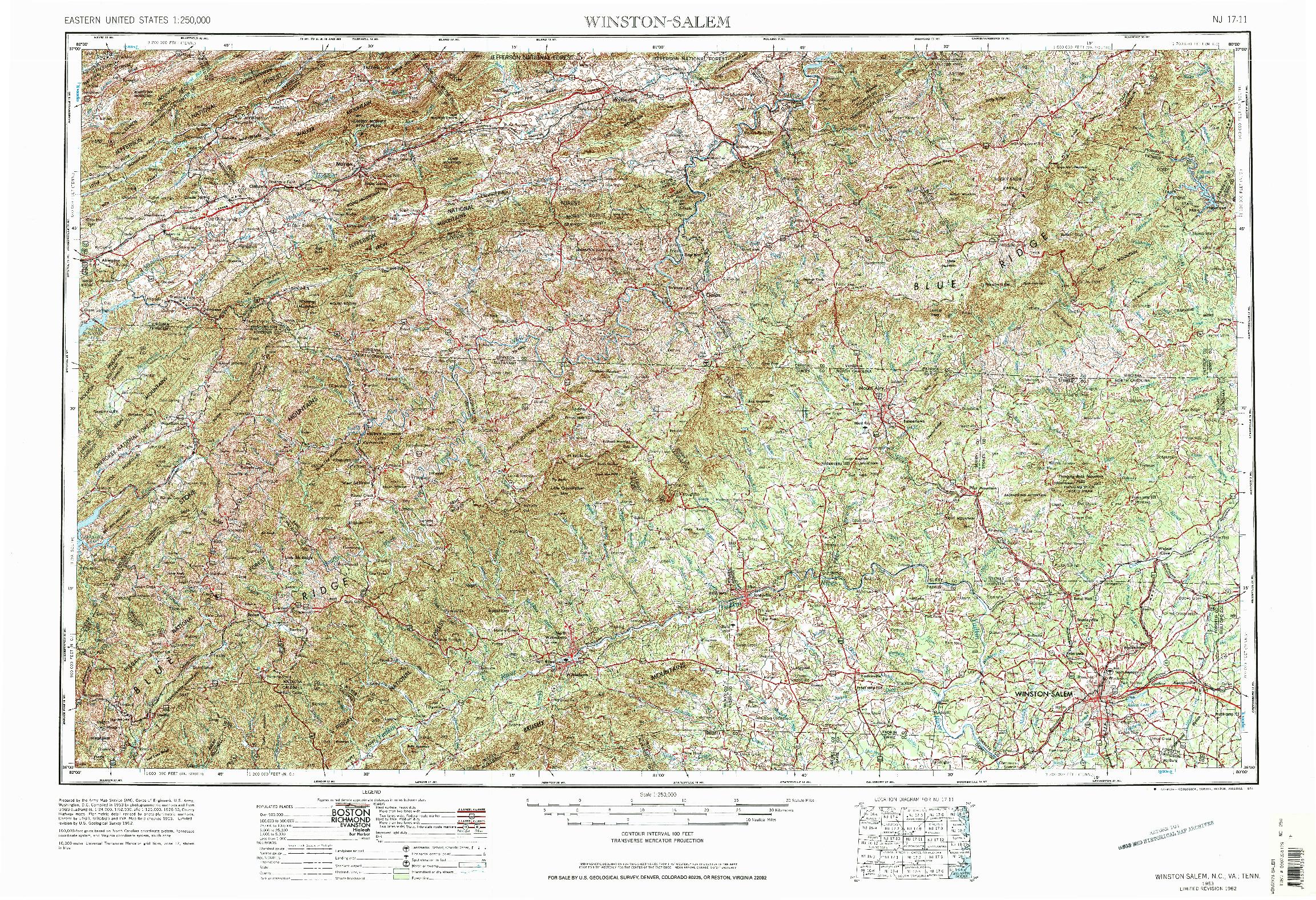 USGS 1:250000-SCALE QUADRANGLE FOR WINSTON-SALEM, NC 1953