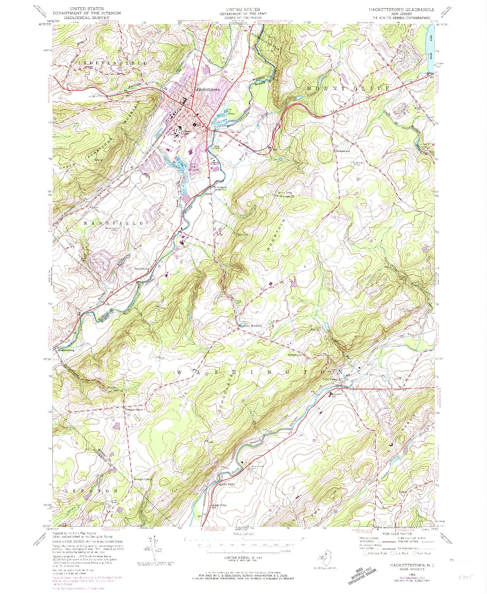 USGS 1:24000-SCALE QUADRANGLE FOR HACKETTSTOWN, NJ 1953