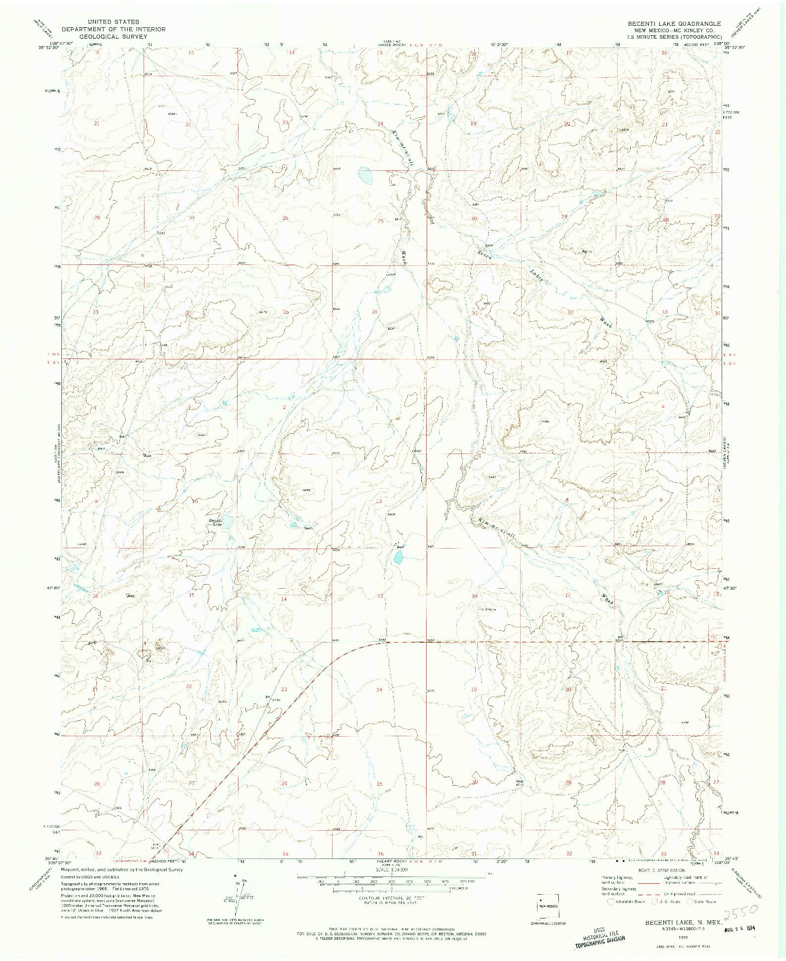 USGS 1:24000-SCALE QUADRANGLE FOR BECENTI LAKE, NM 1970