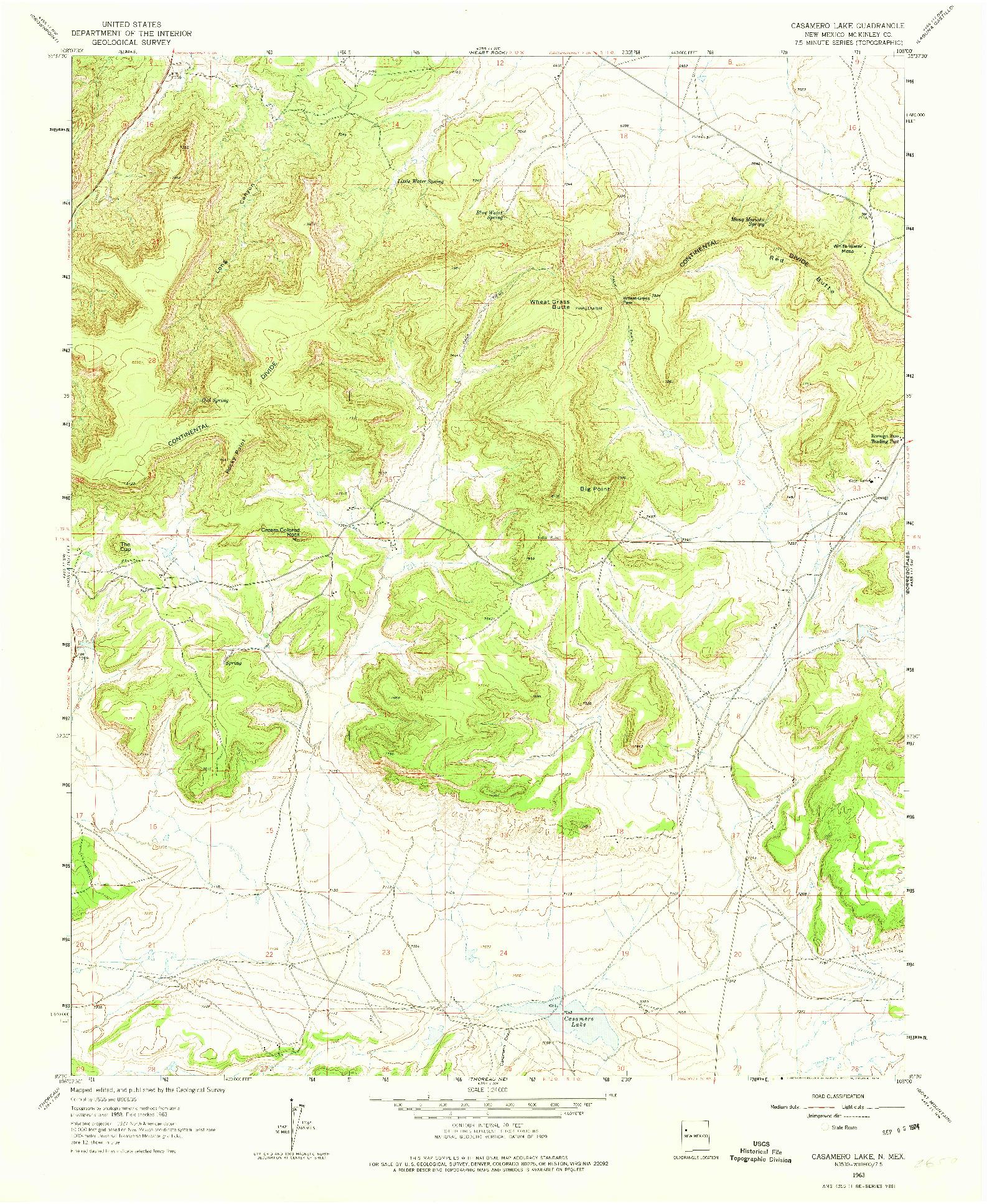 USGS 1:24000-SCALE QUADRANGLE FOR CASAMERO LAKE, NM 1963