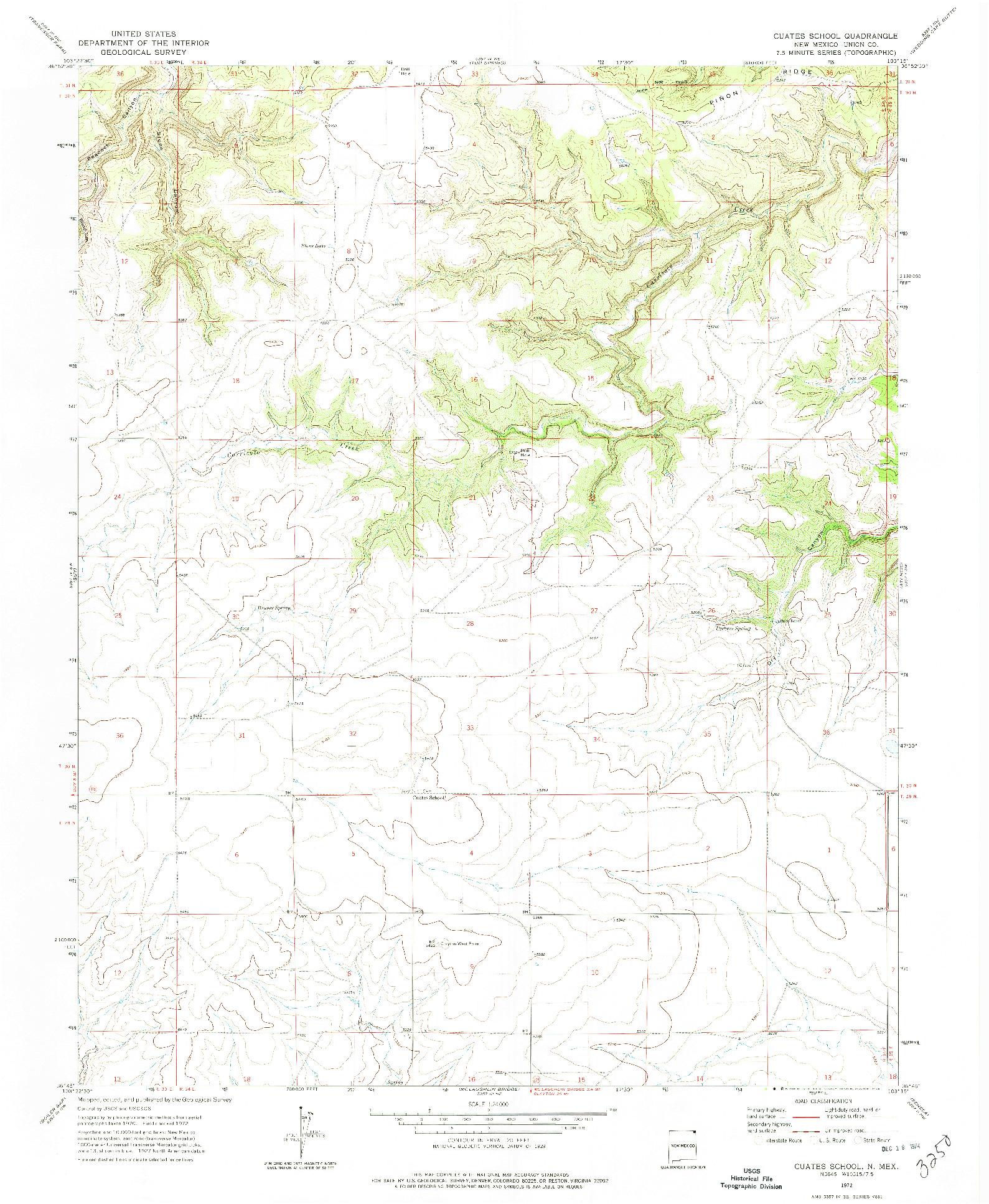 USGS 1:24000-SCALE QUADRANGLE FOR CUATES SCHOOL, NM 1972
