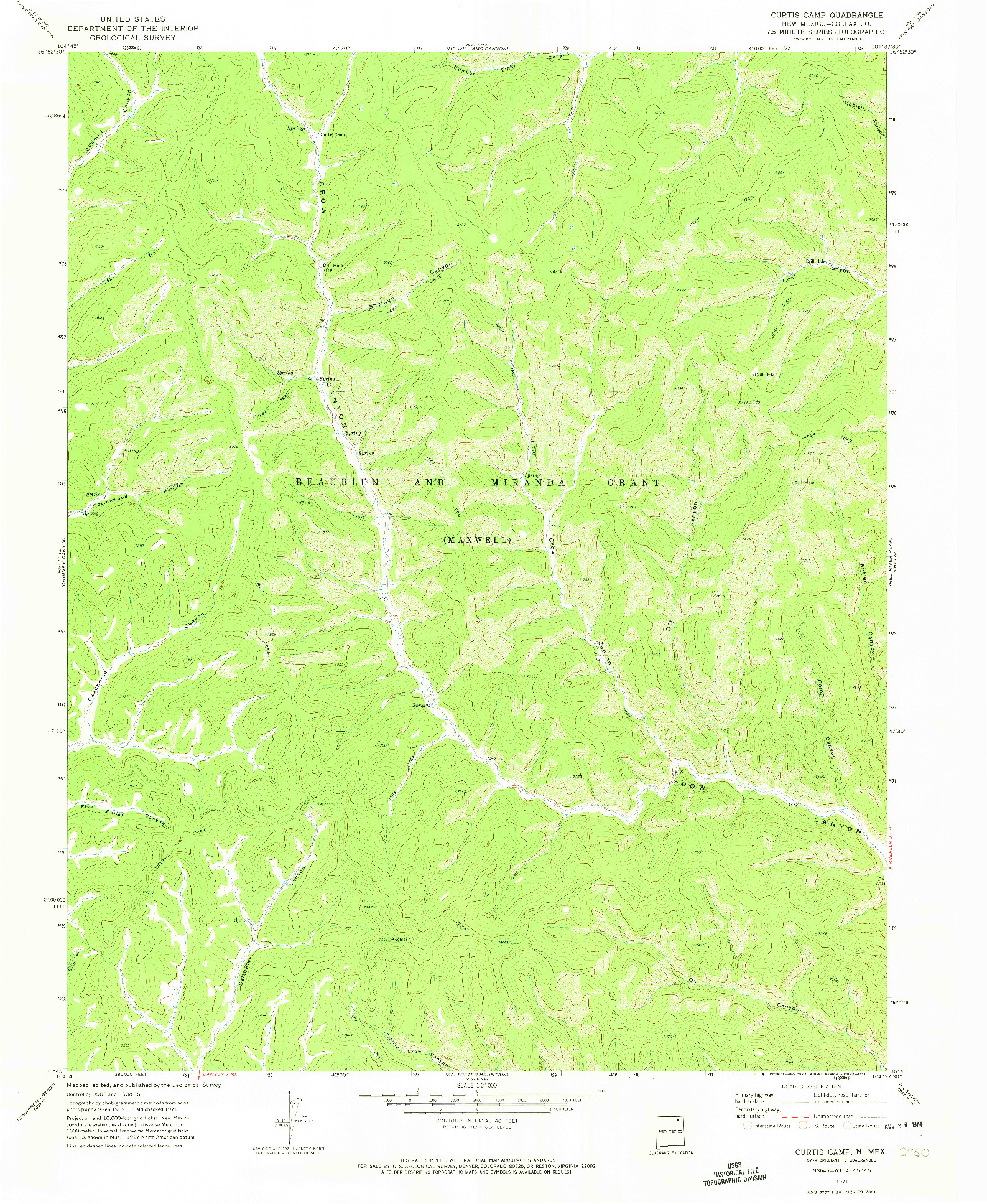 USGS 1:24000-SCALE QUADRANGLE FOR CURTIS CAMP, NM 1971