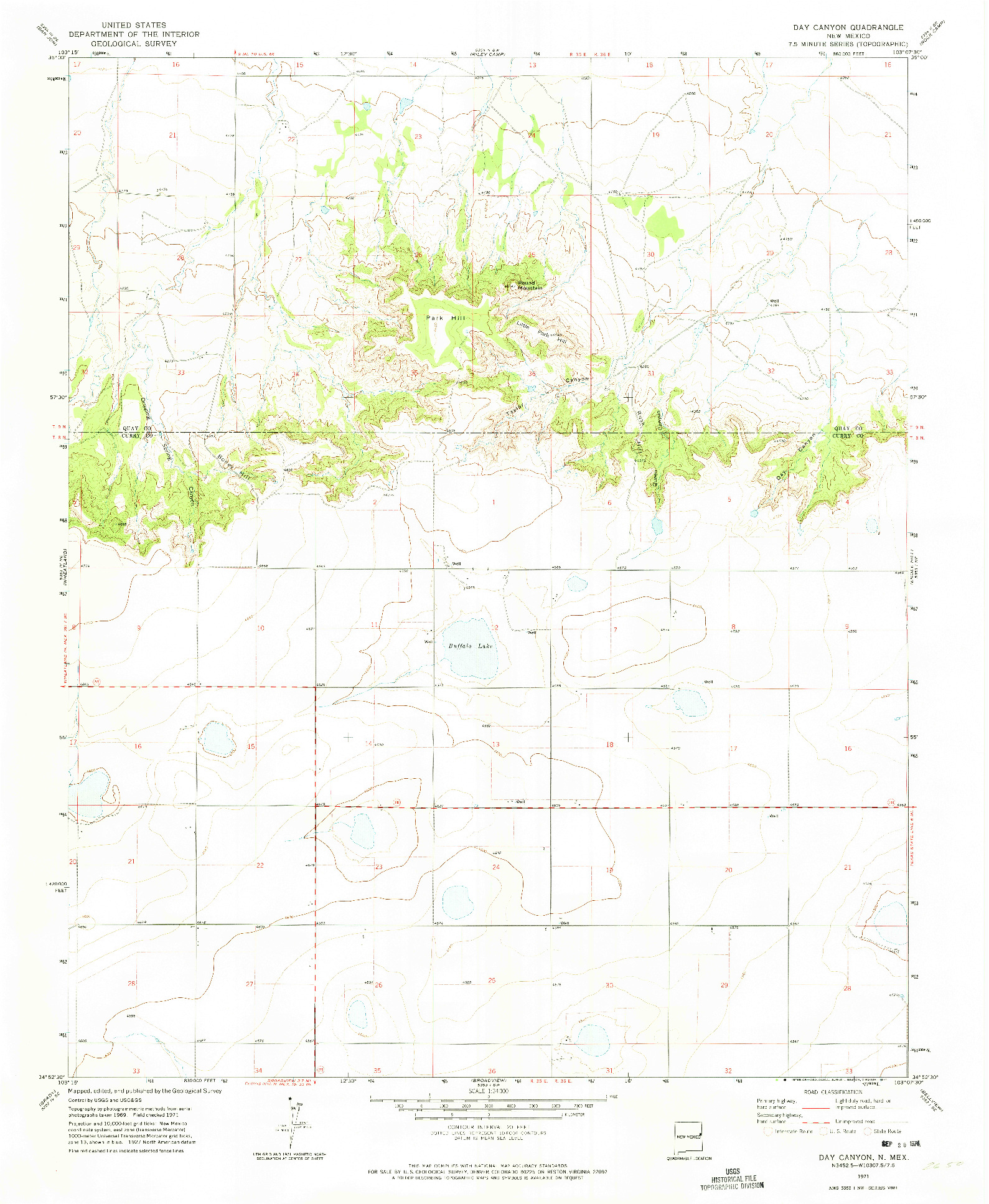 USGS 1:24000-SCALE QUADRANGLE FOR DAY CANYON, NM 1971