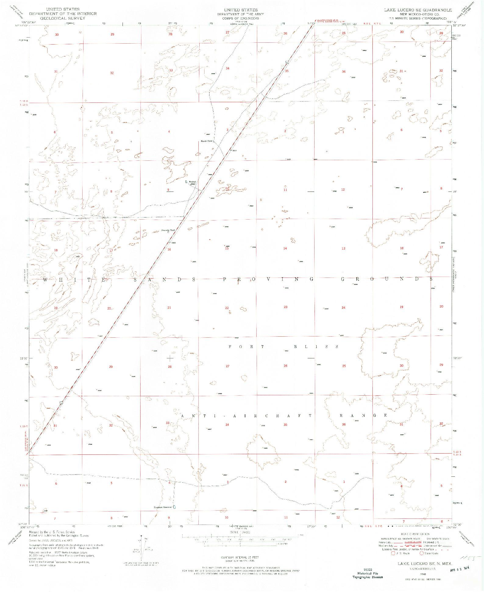 USGS 1:24000-SCALE QUADRANGLE FOR LAKE LUCERO SE, NM 1948