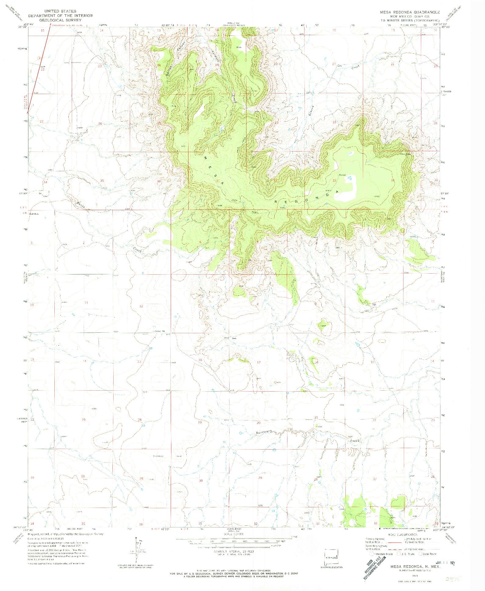 USGS 1:24000-SCALE QUADRANGLE FOR MESA REDONDA, NM 1971