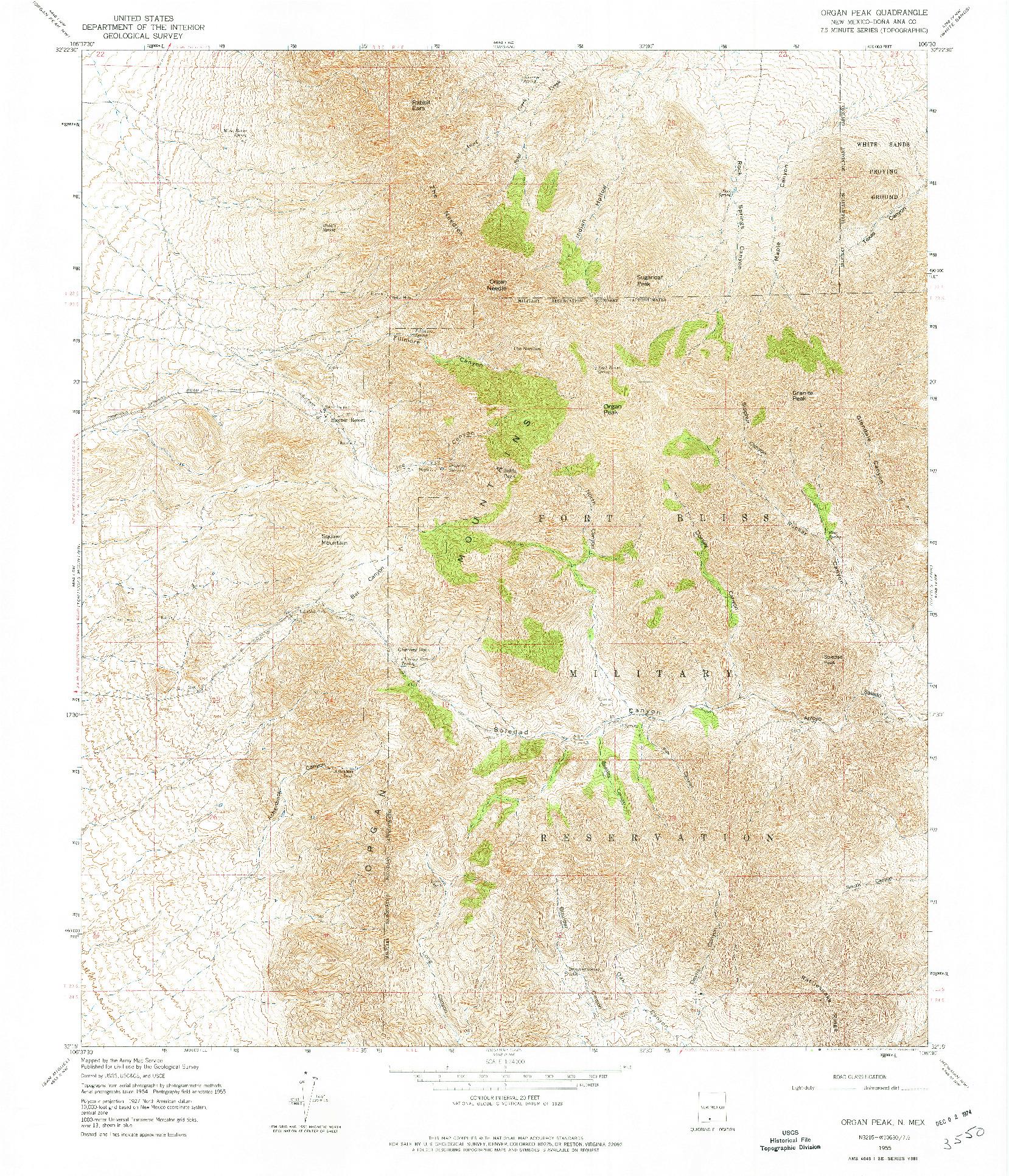 USGS 1:24000-SCALE QUADRANGLE FOR ORGAN PEAK, NM 1955