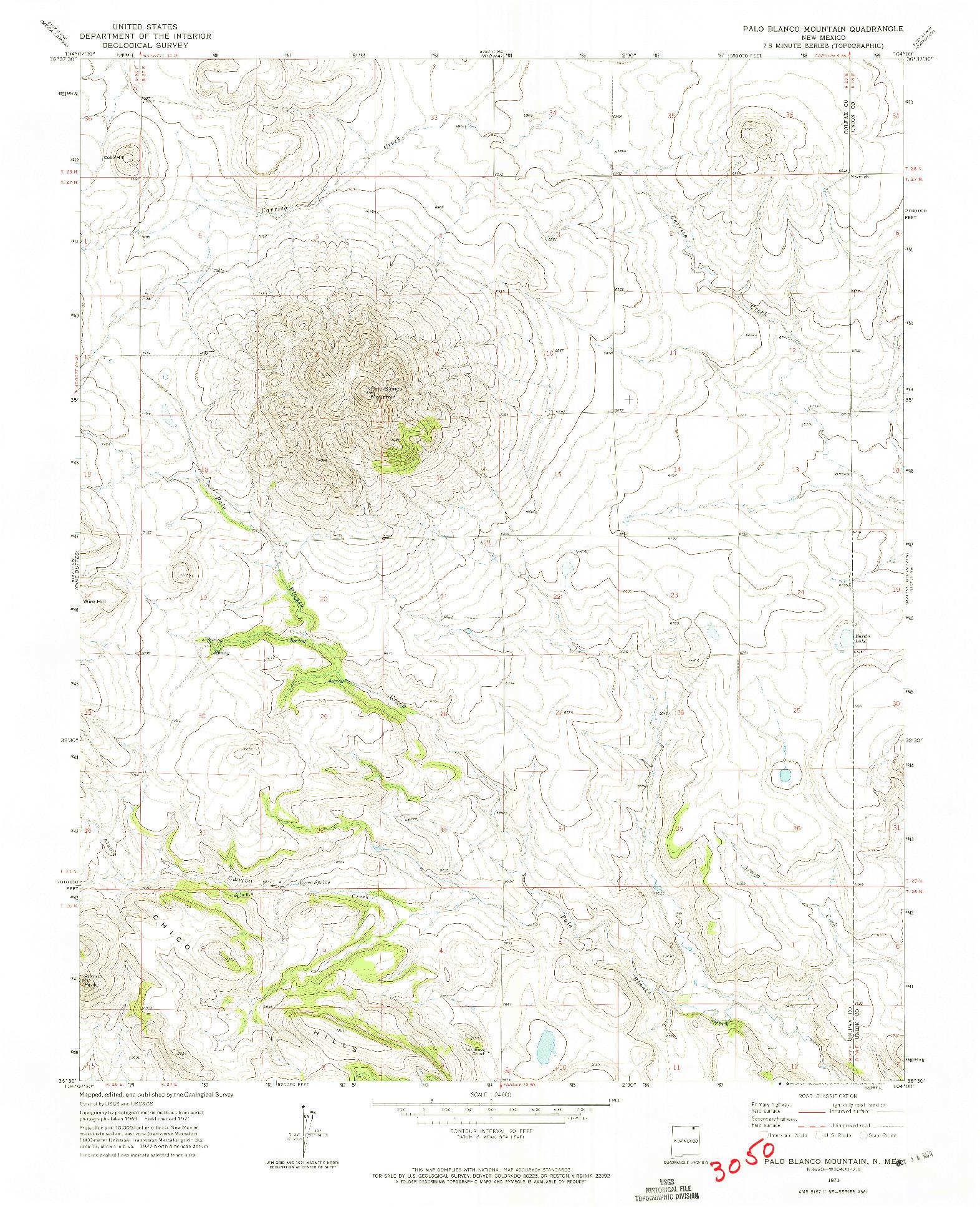 USGS 1:24000-SCALE QUADRANGLE FOR PALO BLANCO MOUNTAIN, NM 1971