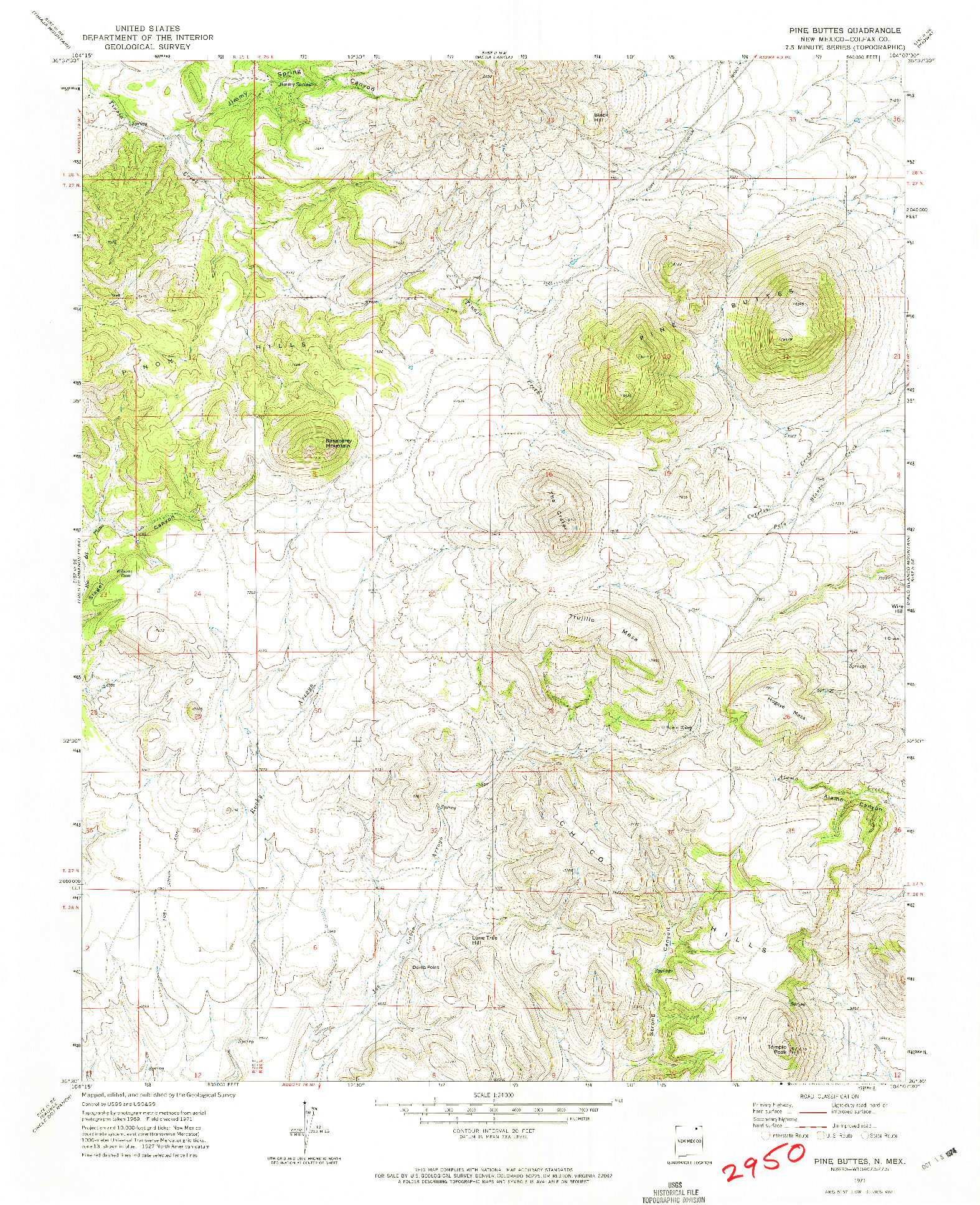 USGS 1:24000-SCALE QUADRANGLE FOR PINE BUTTES, NM 1971