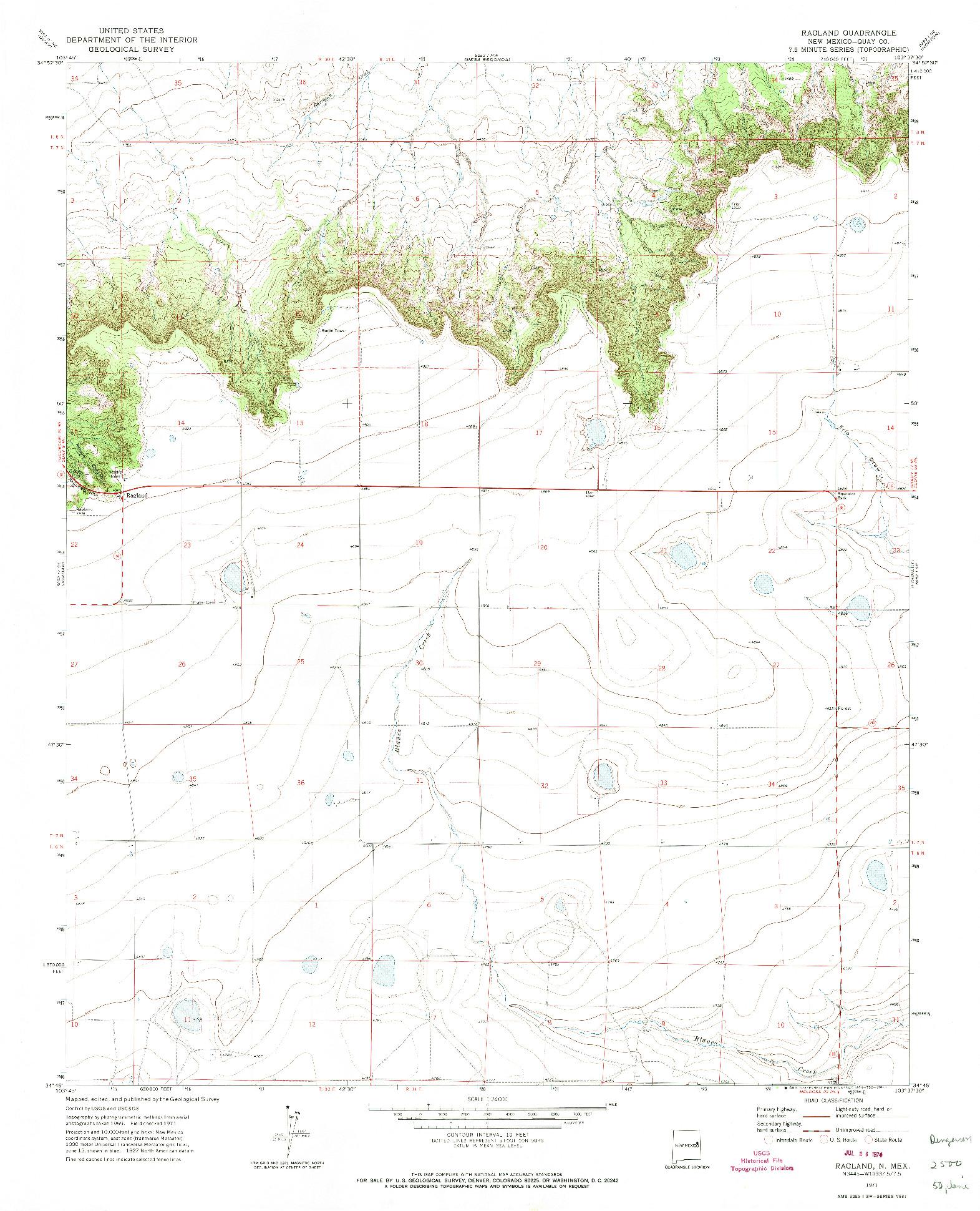 USGS 1:24000-SCALE QUADRANGLE FOR RAGLAND, NM 1971