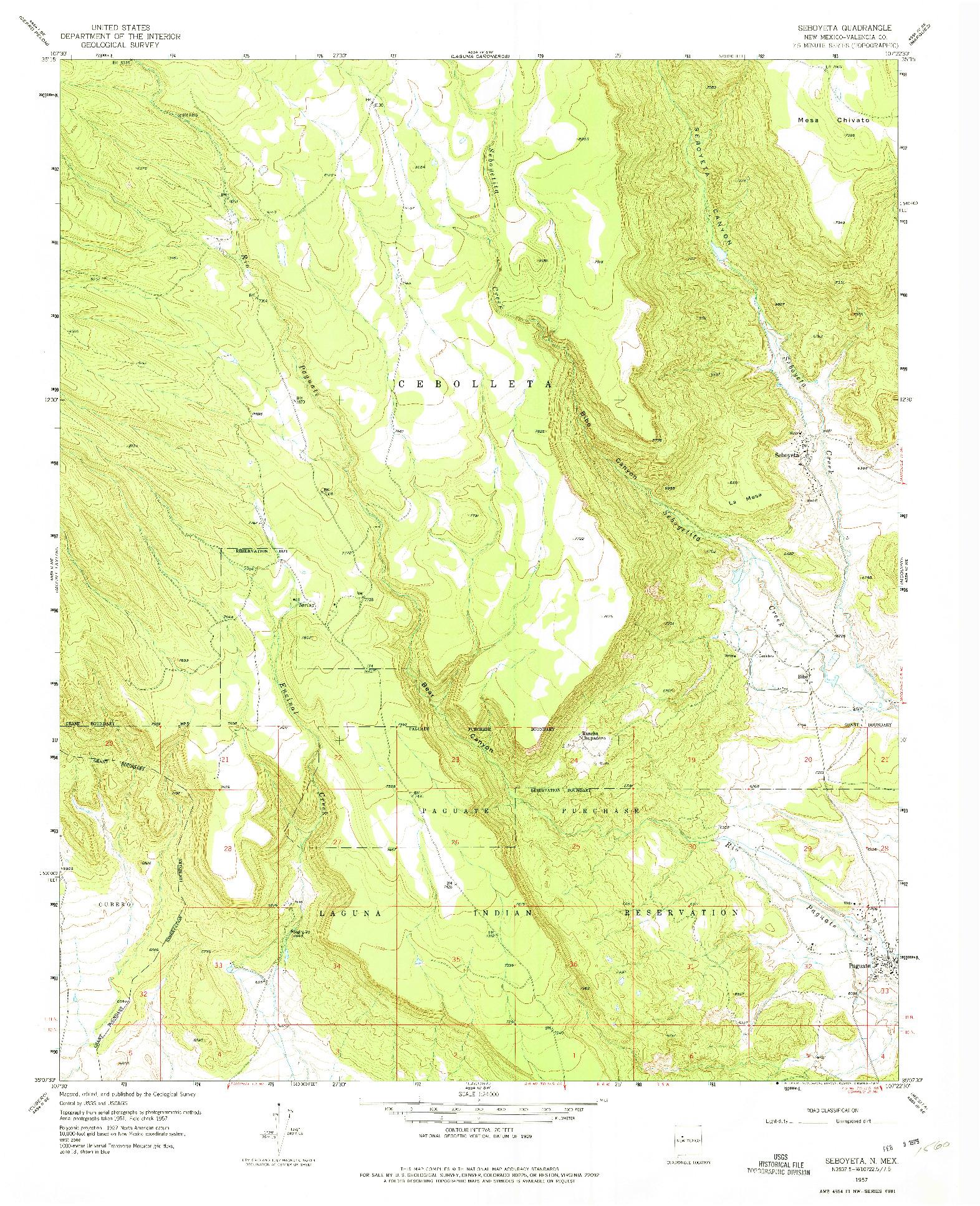 USGS 1:24000-SCALE QUADRANGLE FOR SEBOYETA, NM 1957