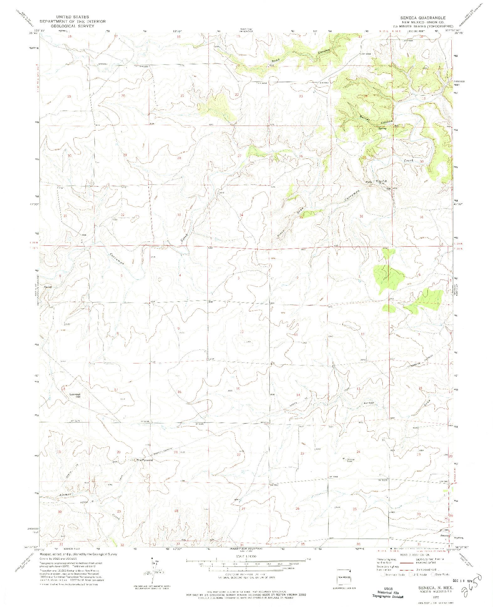 USGS 1:24000-SCALE QUADRANGLE FOR SENECA, NM 1972