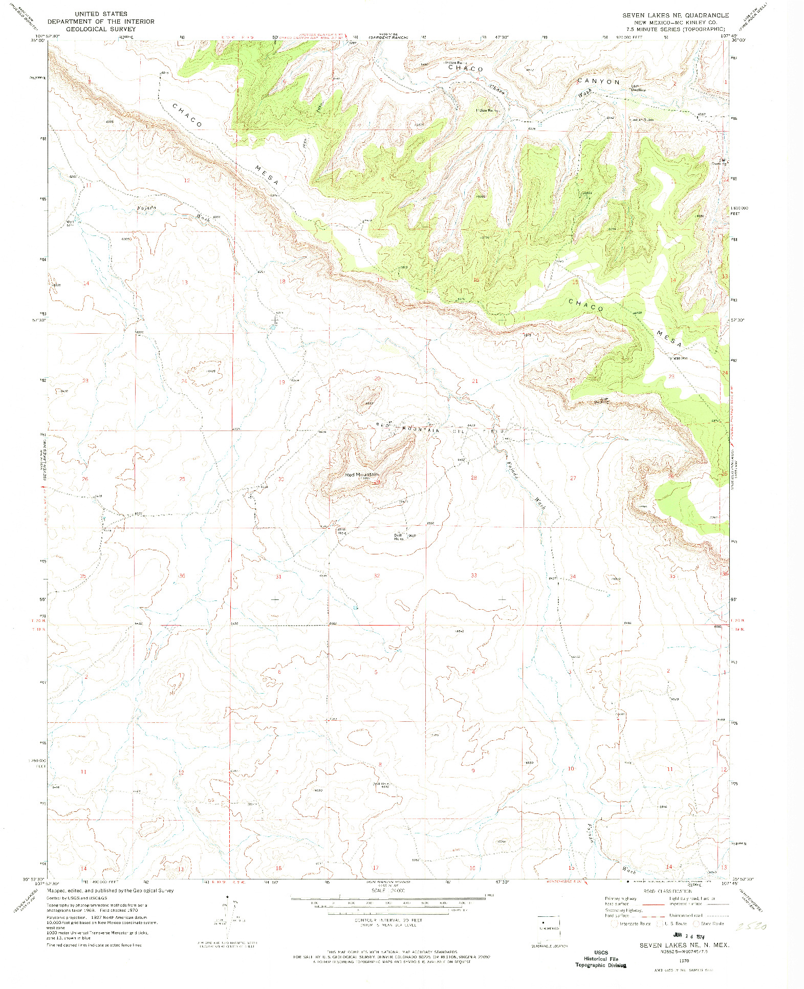 USGS 1:24000-SCALE QUADRANGLE FOR SEVEN LAKES NE, NM 1970