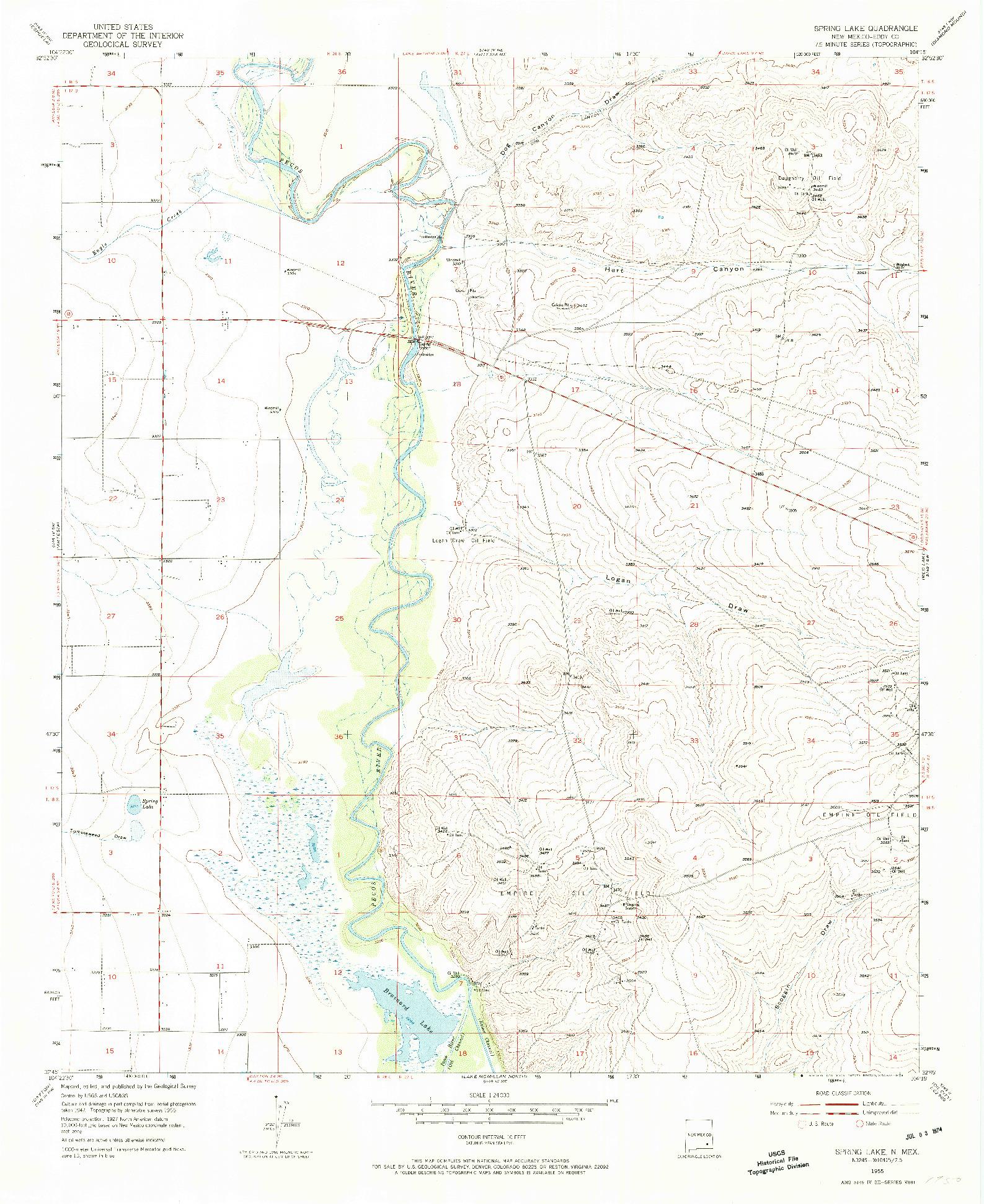 USGS 1:24000-SCALE QUADRANGLE FOR SPRING LAKE, NM 1955