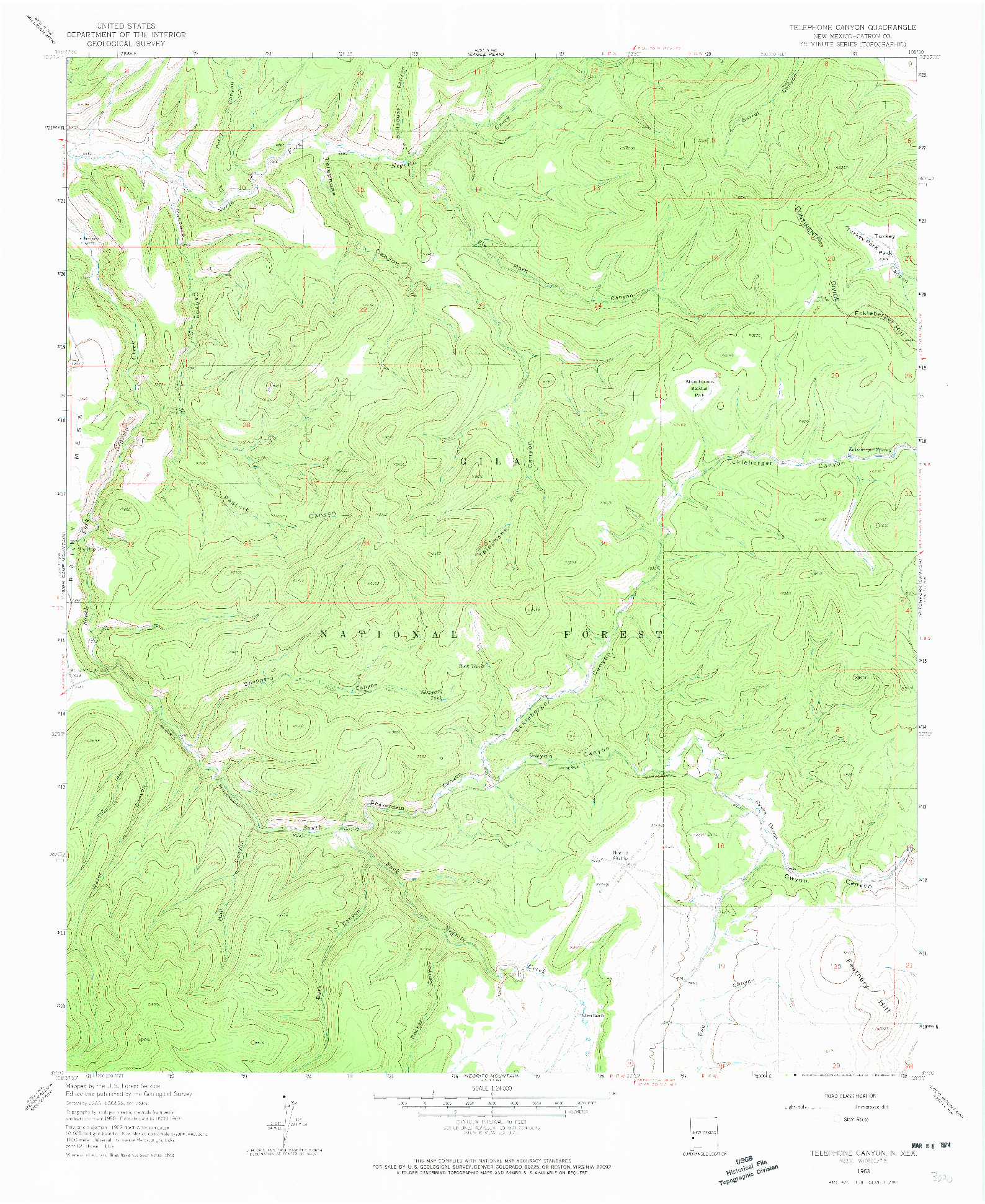 USGS 1:24000-SCALE QUADRANGLE FOR TELEPHONE CANYON, NM 1963
